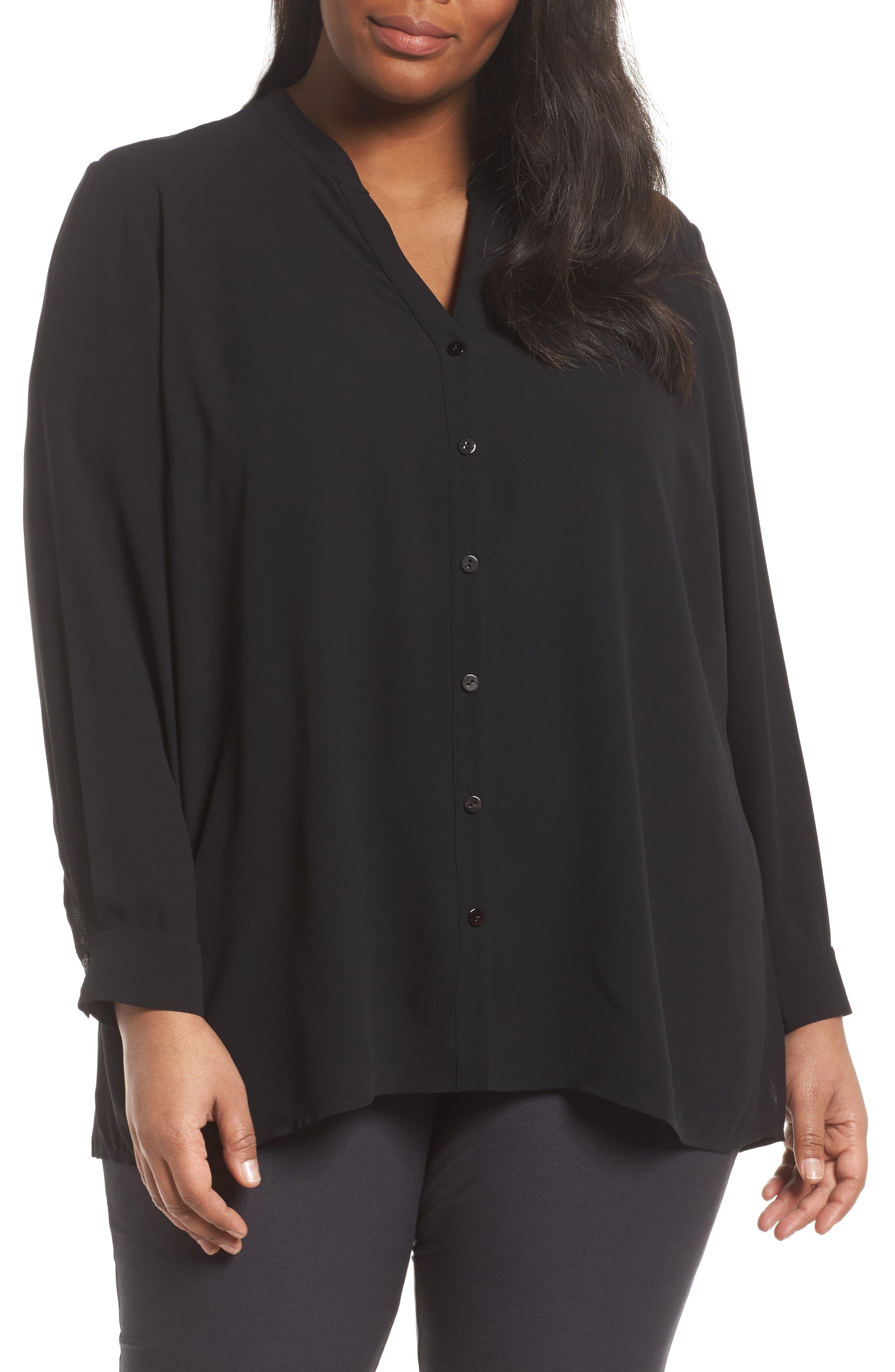 Silk Blouse,                         Main,                         color, Black