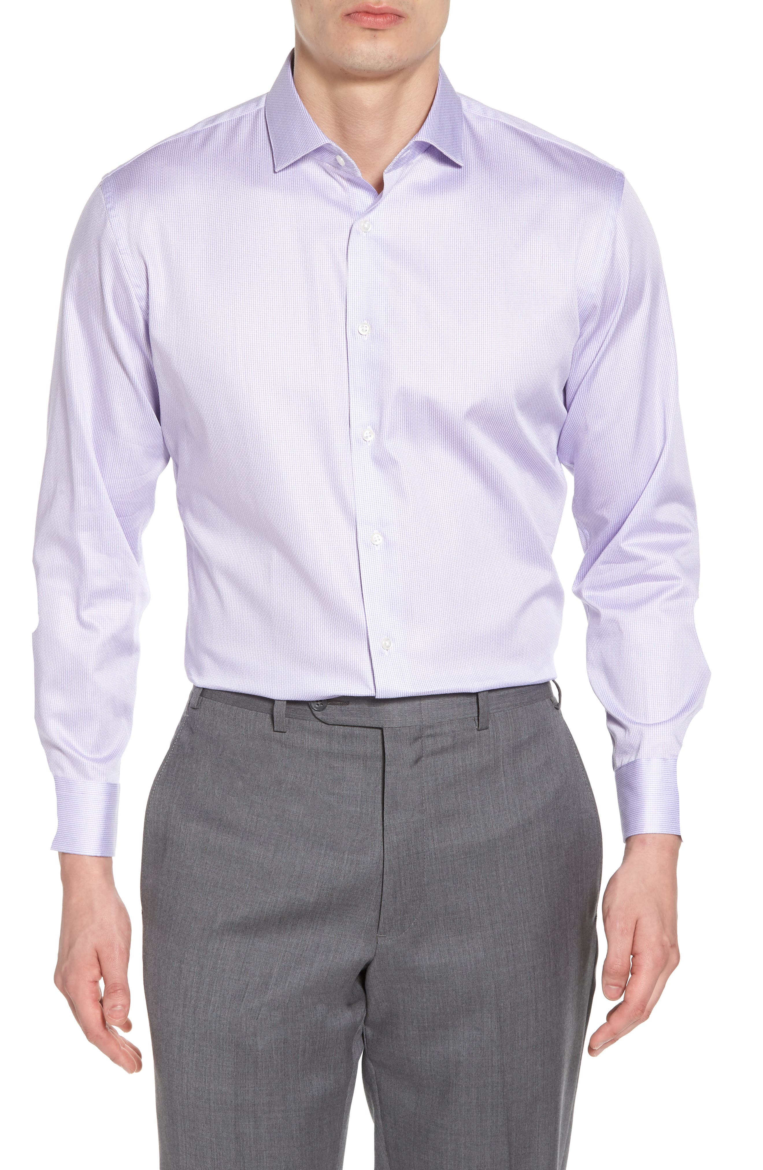 Trim Fit Stripe Dress Shirt,                             Main thumbnail 1, color,                             Purple Heirloom