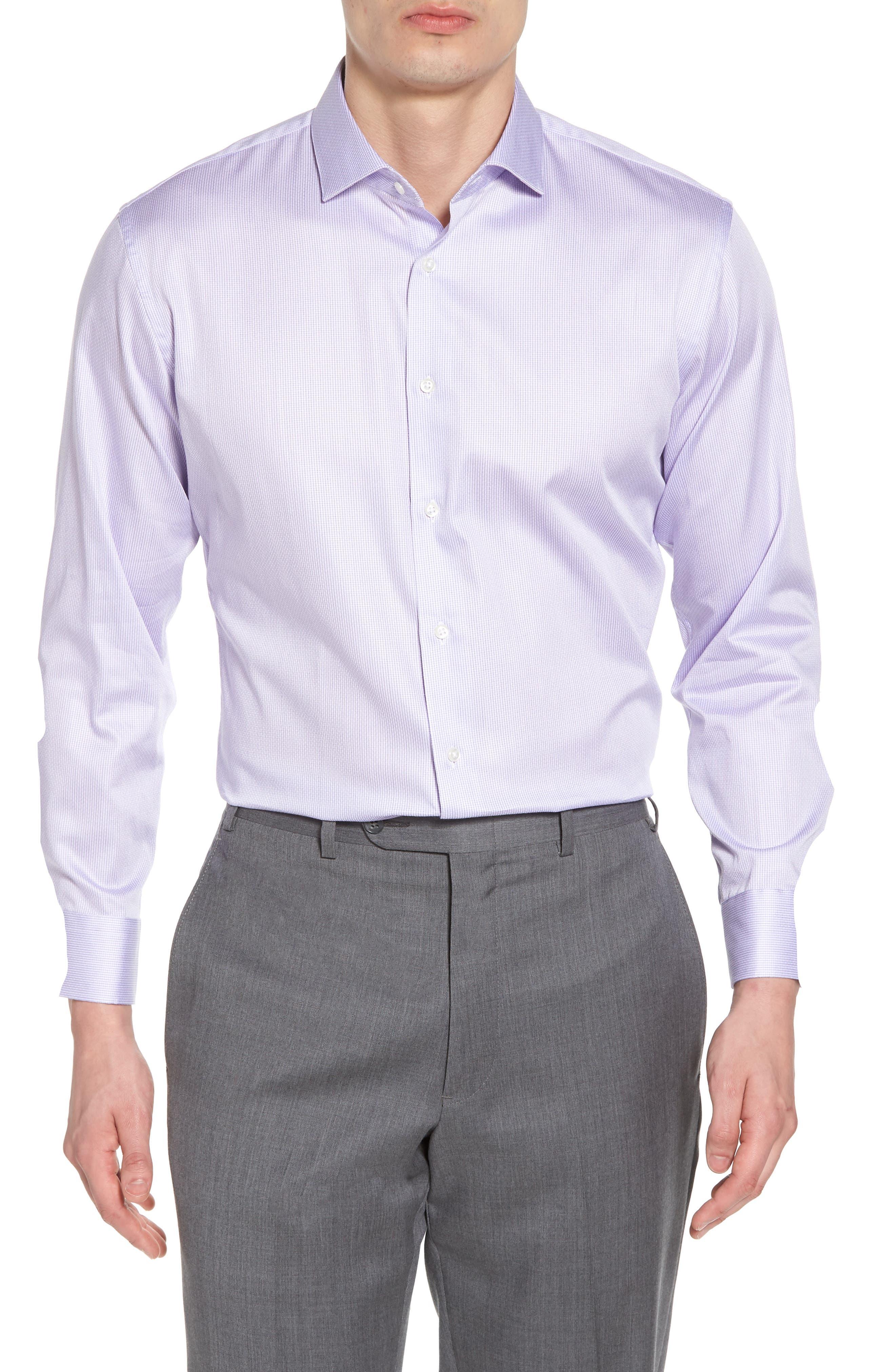 Trim Fit Stripe Dress Shirt,                         Main,                         color, Purple Heirloom