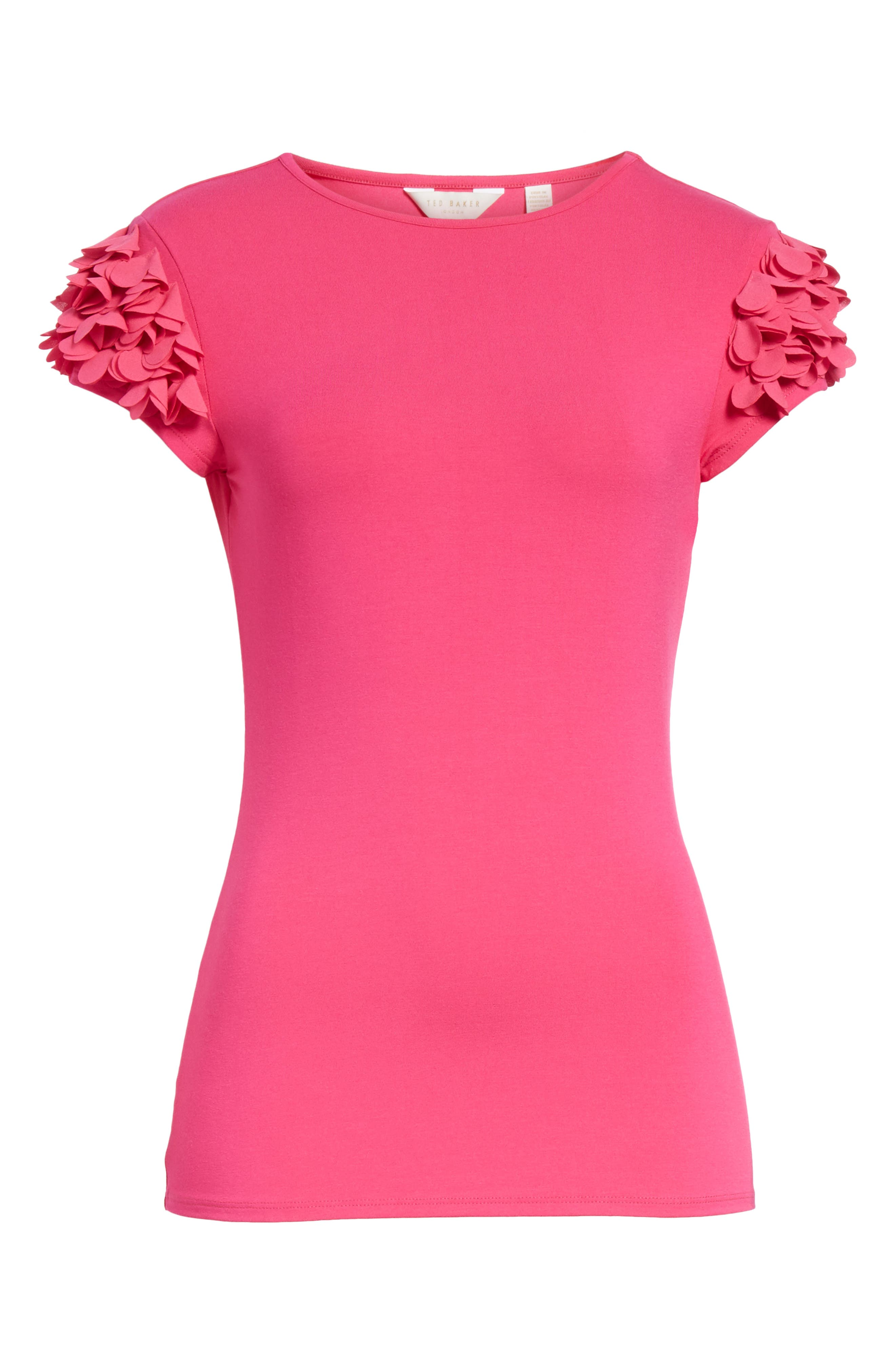 Floral Appliqué Sleeve Tee,                             Alternate thumbnail 6, color,                             Bright Pink