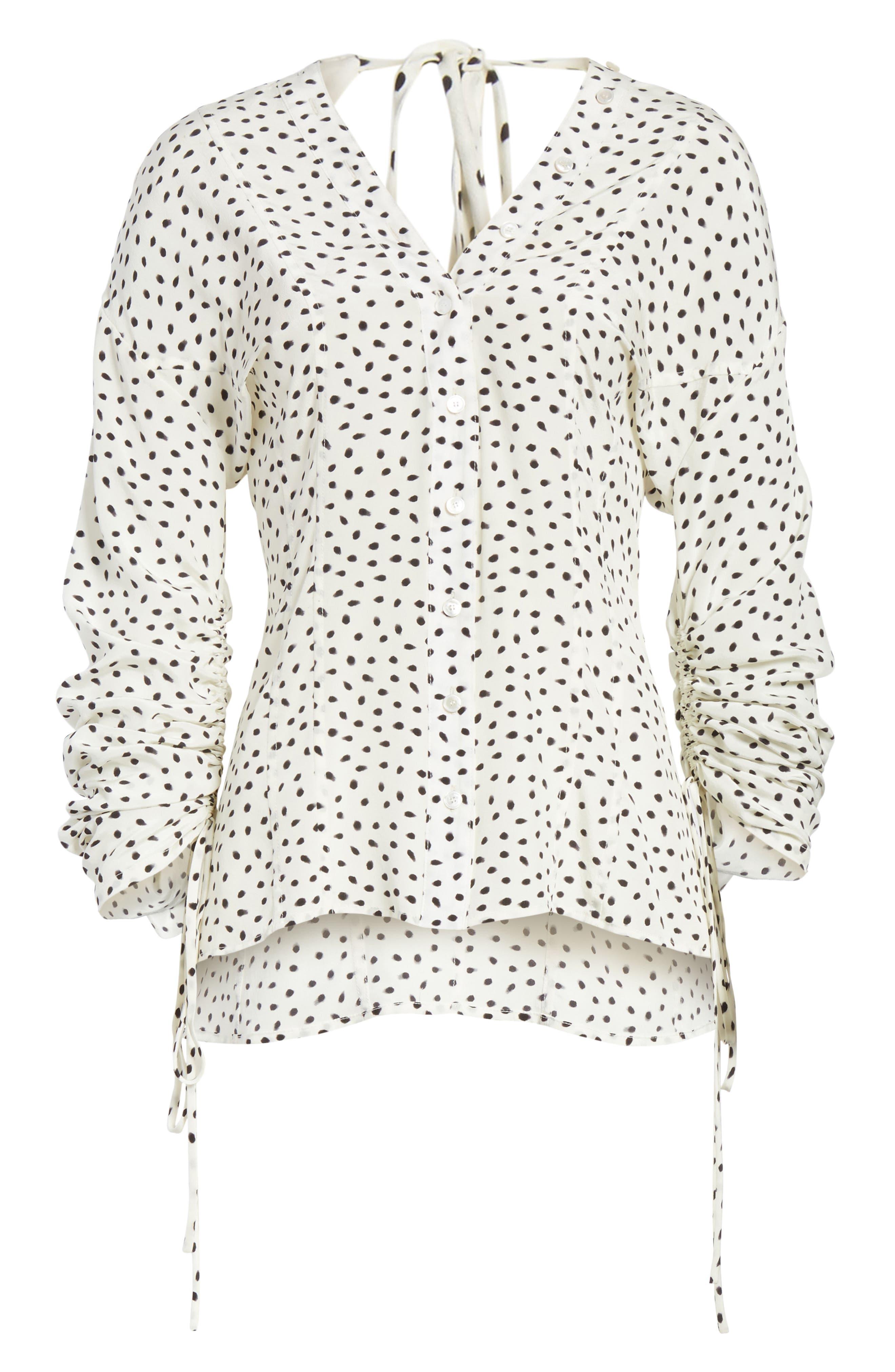 Polka Dot Ruched Sleeve Silk Shirt,                             Alternate thumbnail 6, color,                             Chalk Black