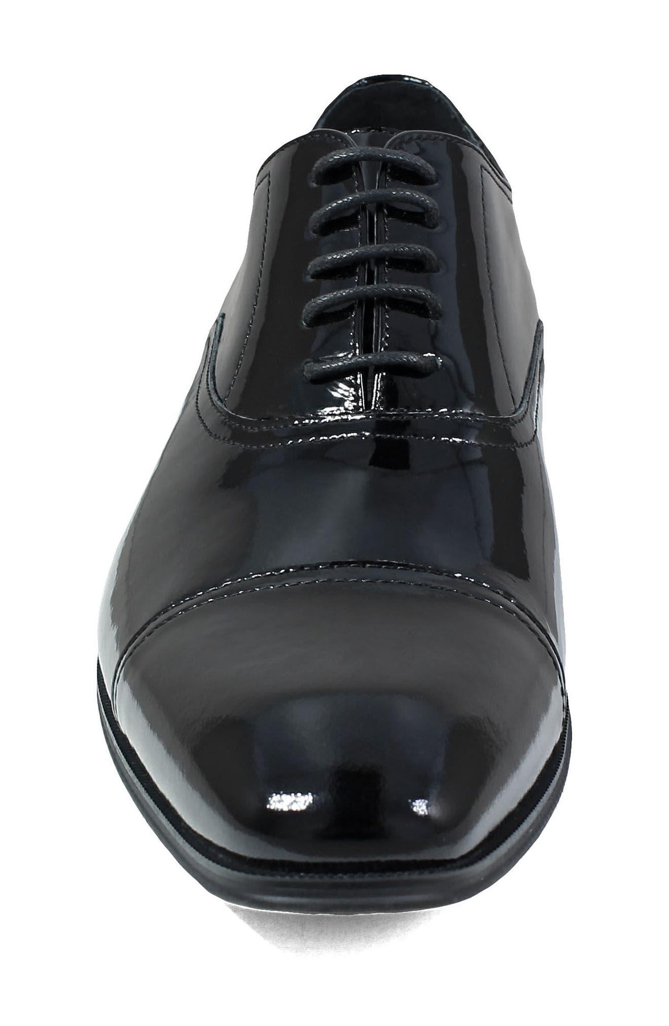 Tux Cap Toe Oxford,                             Alternate thumbnail 4, color,                             Black Patent Leather