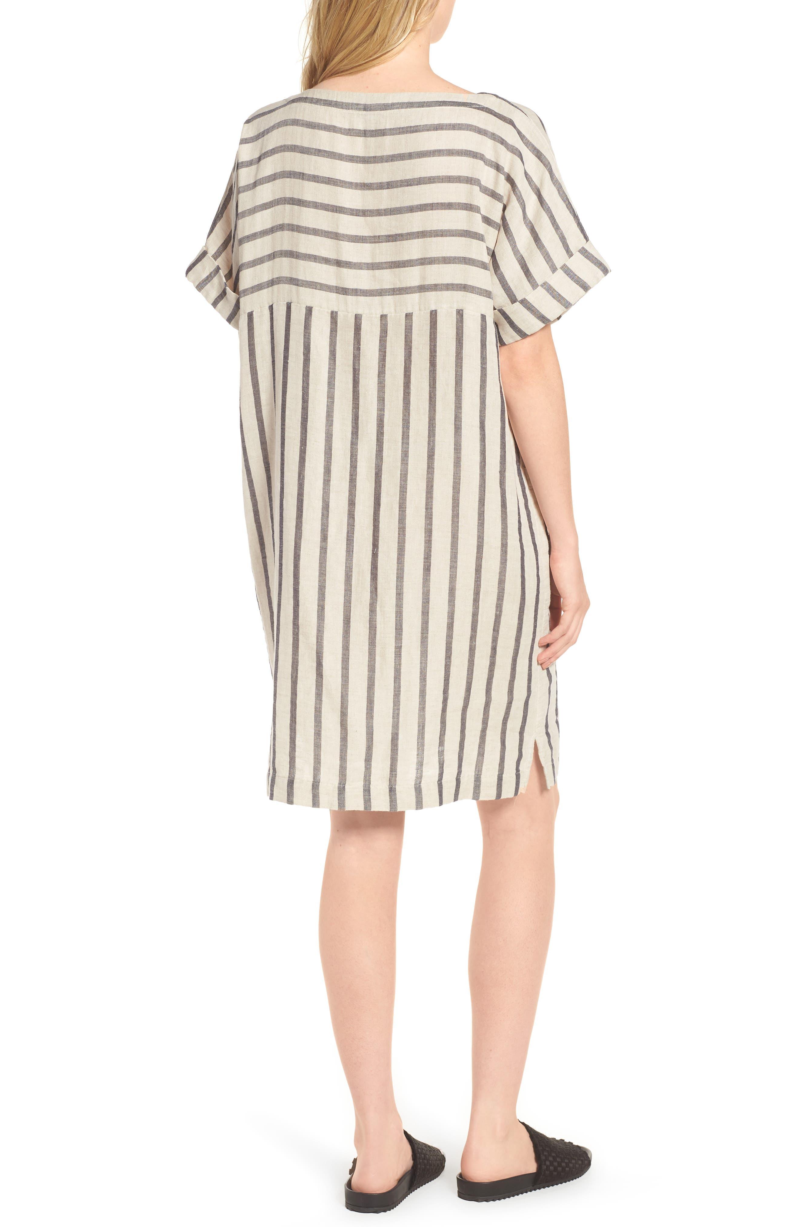 Stripe Linen & Cotton Shift Dress,                             Alternate thumbnail 2, color,                             Natural