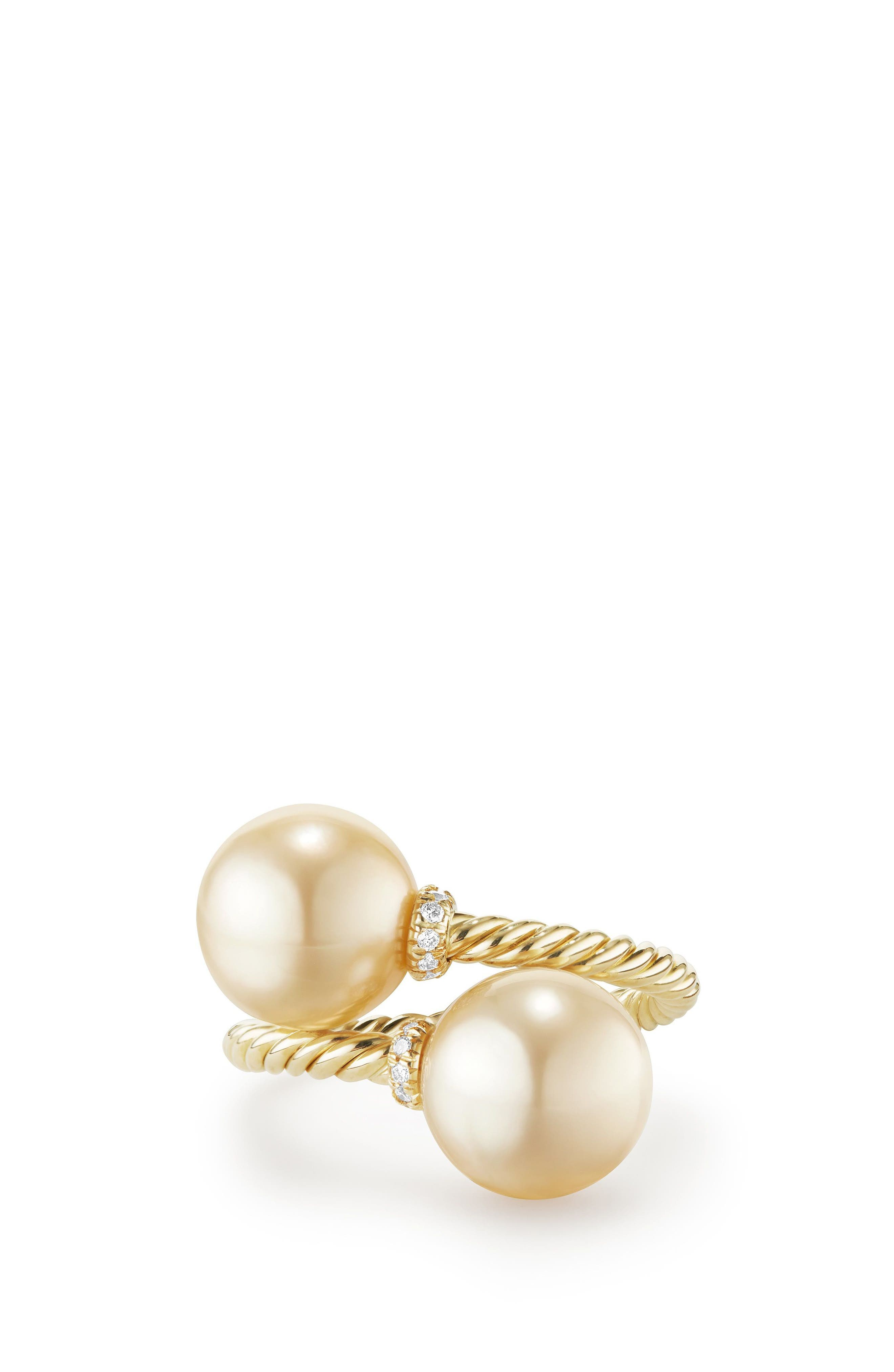 Solari Bypass Ring with Diamond in 18K Gold,                         Main,                         color, Gold/ Diamond/ Yellow Pearl