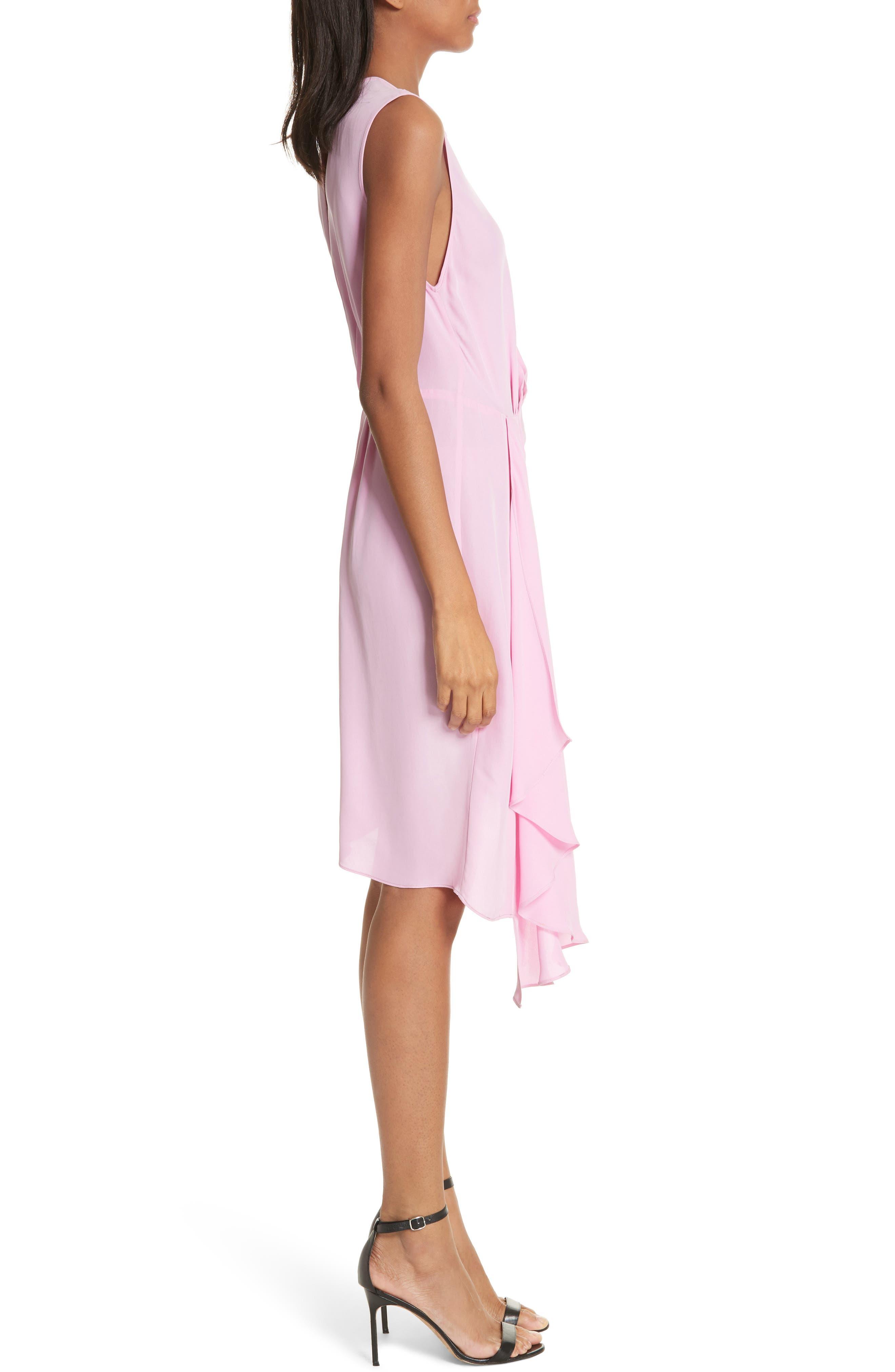 Rachael Front Drape Dress,                             Alternate thumbnail 3, color,                             Bubblegum