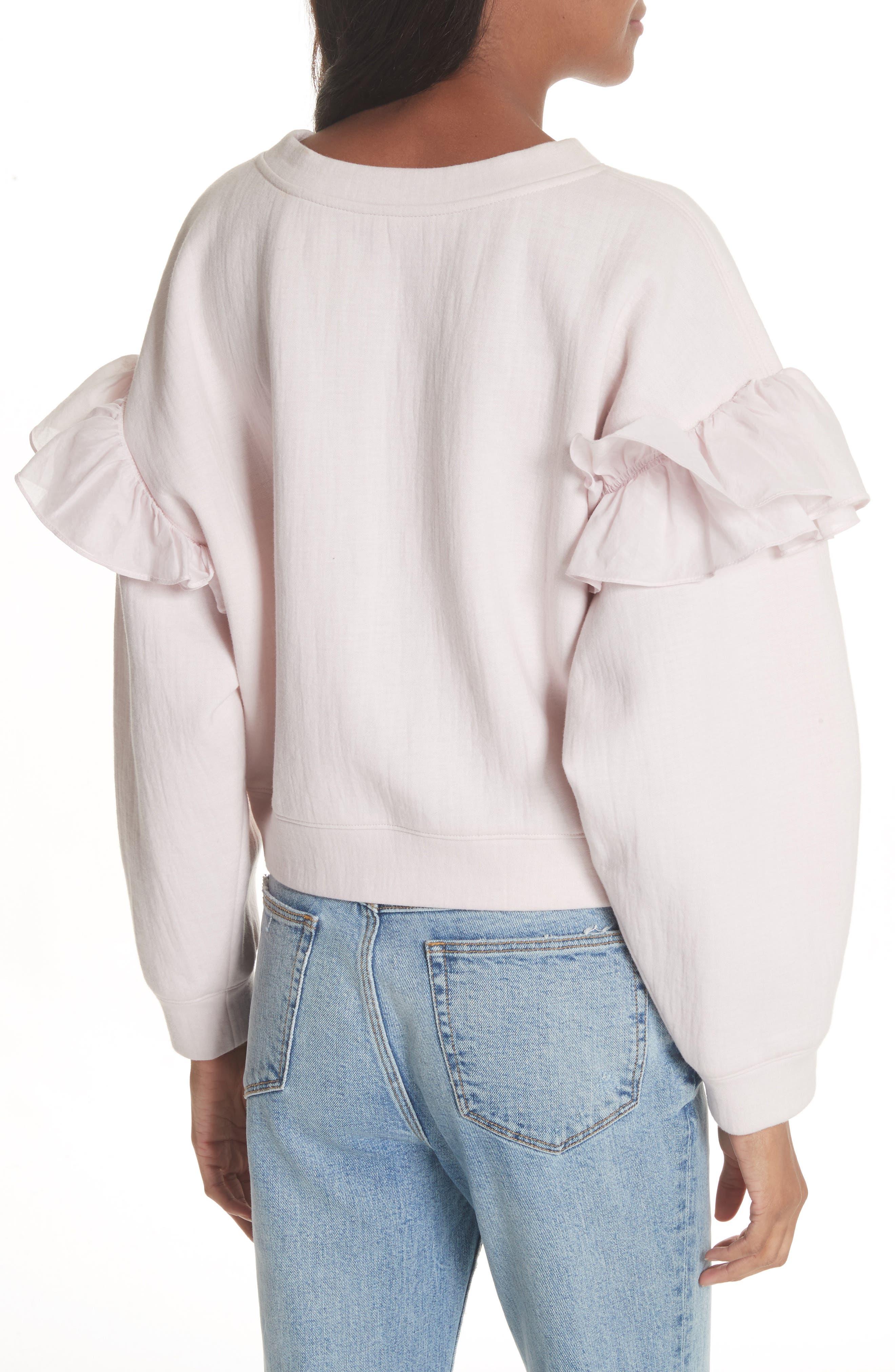 Ruffle Sleeve Sweatshirt,                             Alternate thumbnail 2, color,                             Candy Floss