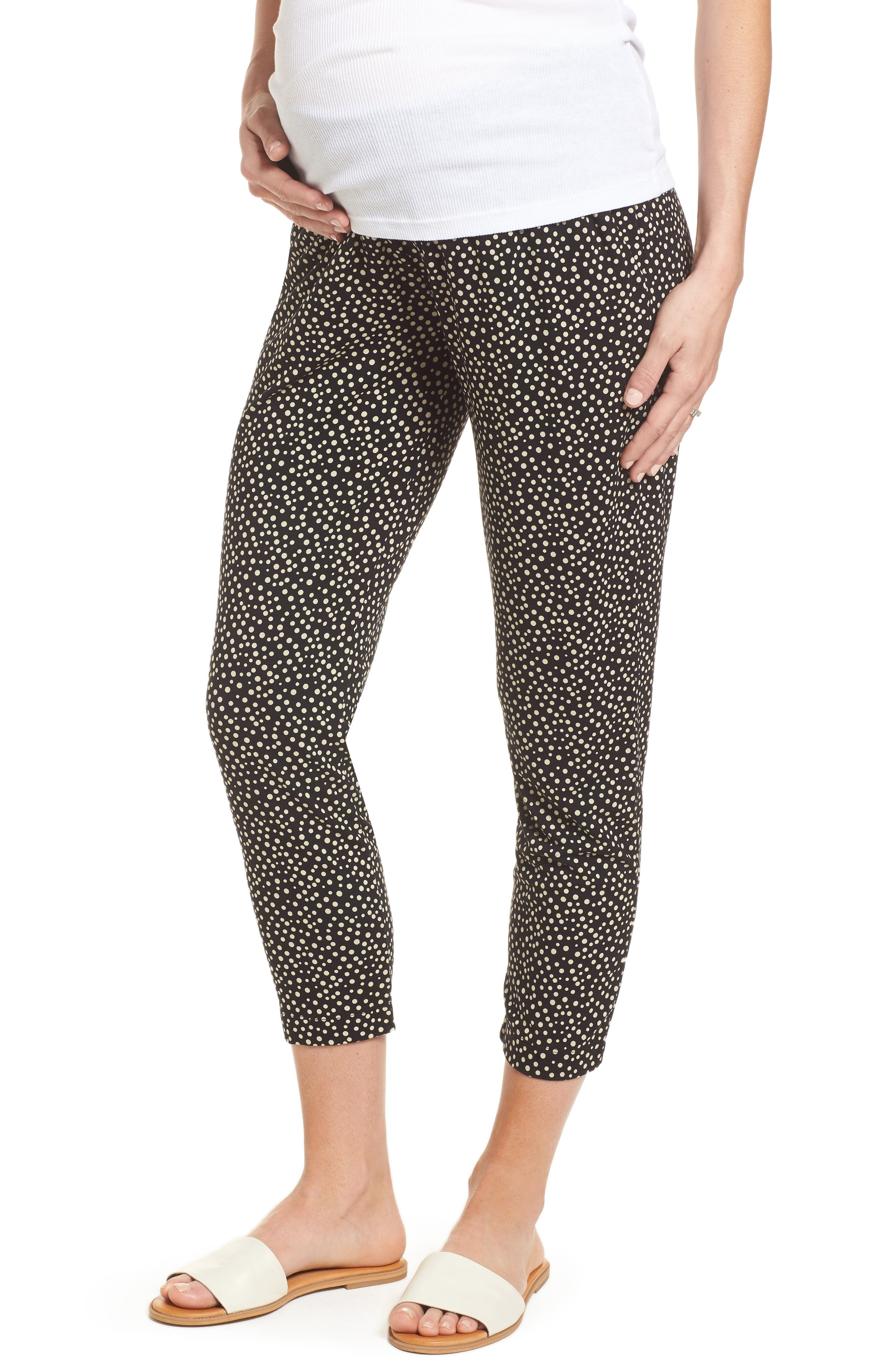 Danni Maternity Tapered Trousers,                         Main,                         color, Polka Print