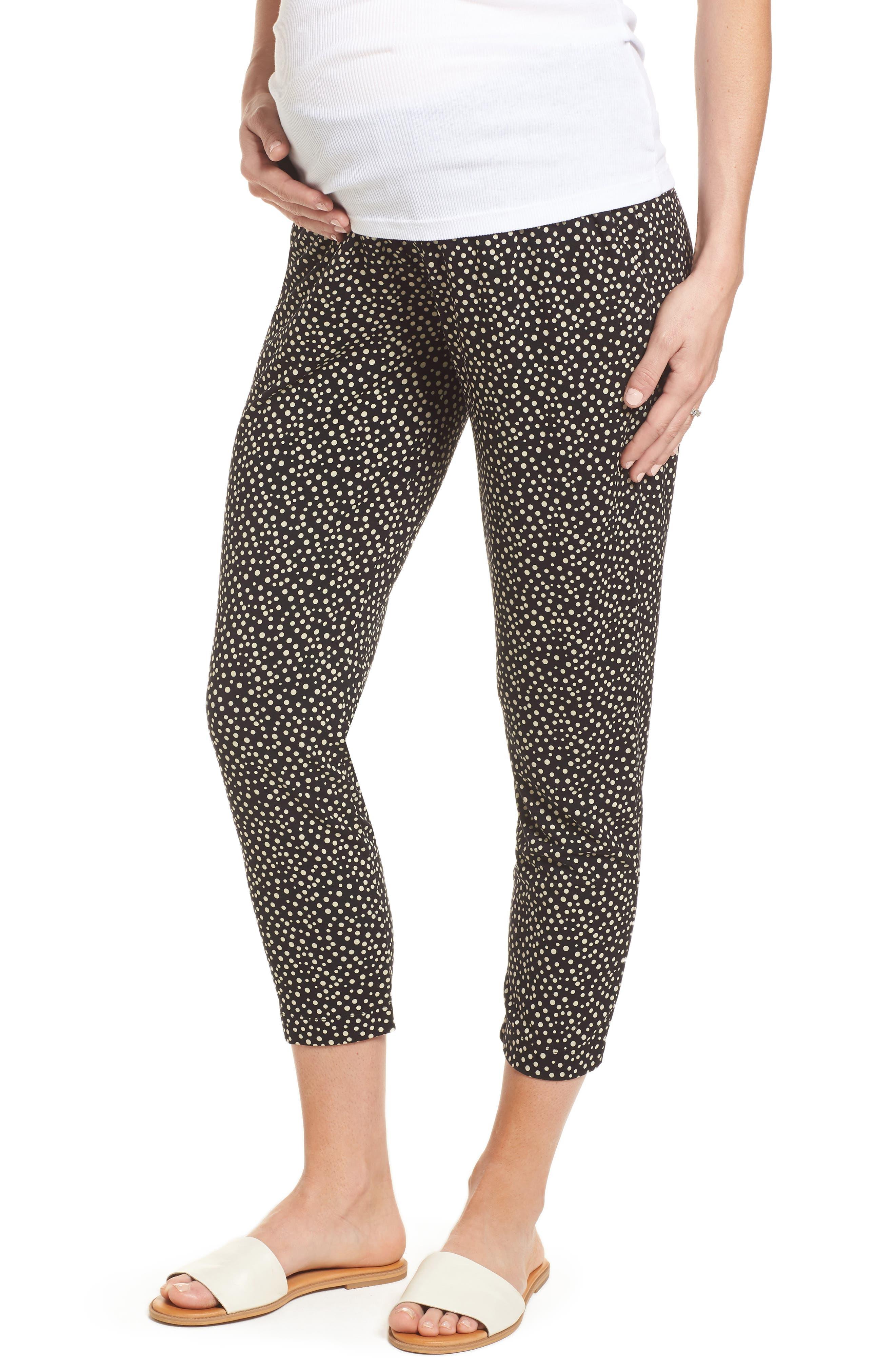 Danni Maternity Tapered Trousers,                         Main,                         color, Polka Print