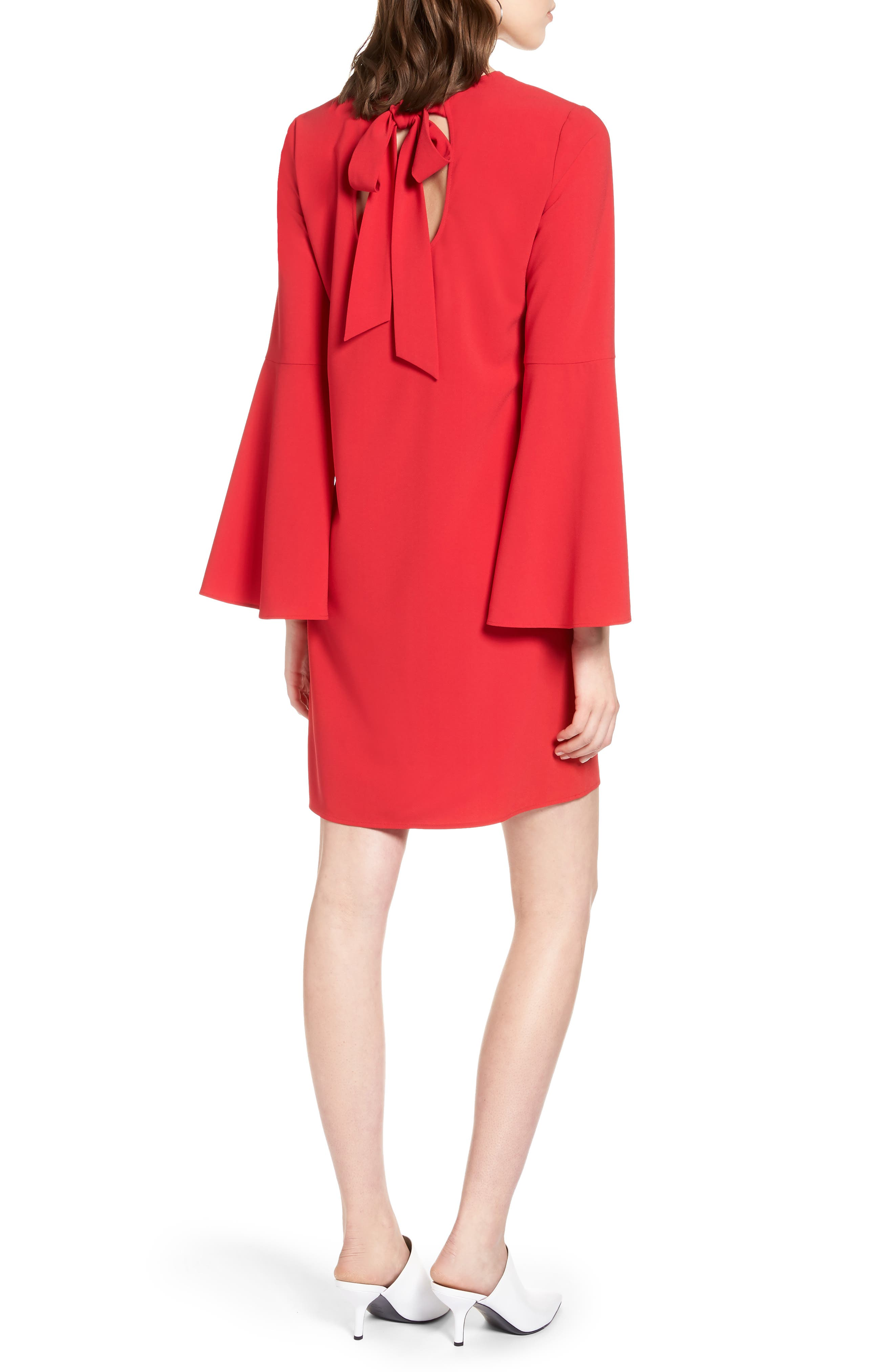 Bow Back Flare Sleeve Dress,                             Alternate thumbnail 2, color,                             Red Lipstick