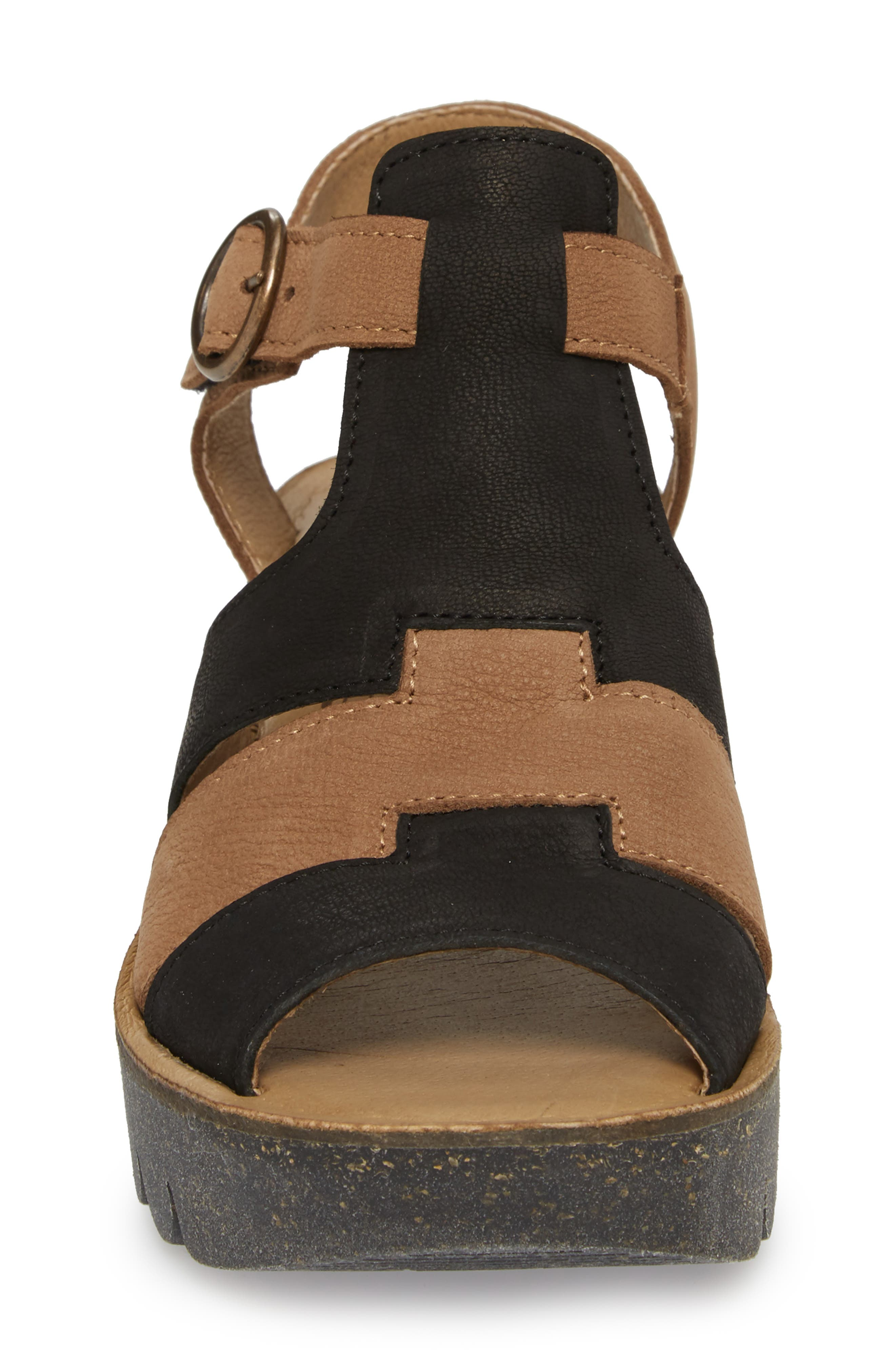 Yuni Wedge Sandal,                             Alternate thumbnail 4, color,                             Black/ Sand Cupido Leather