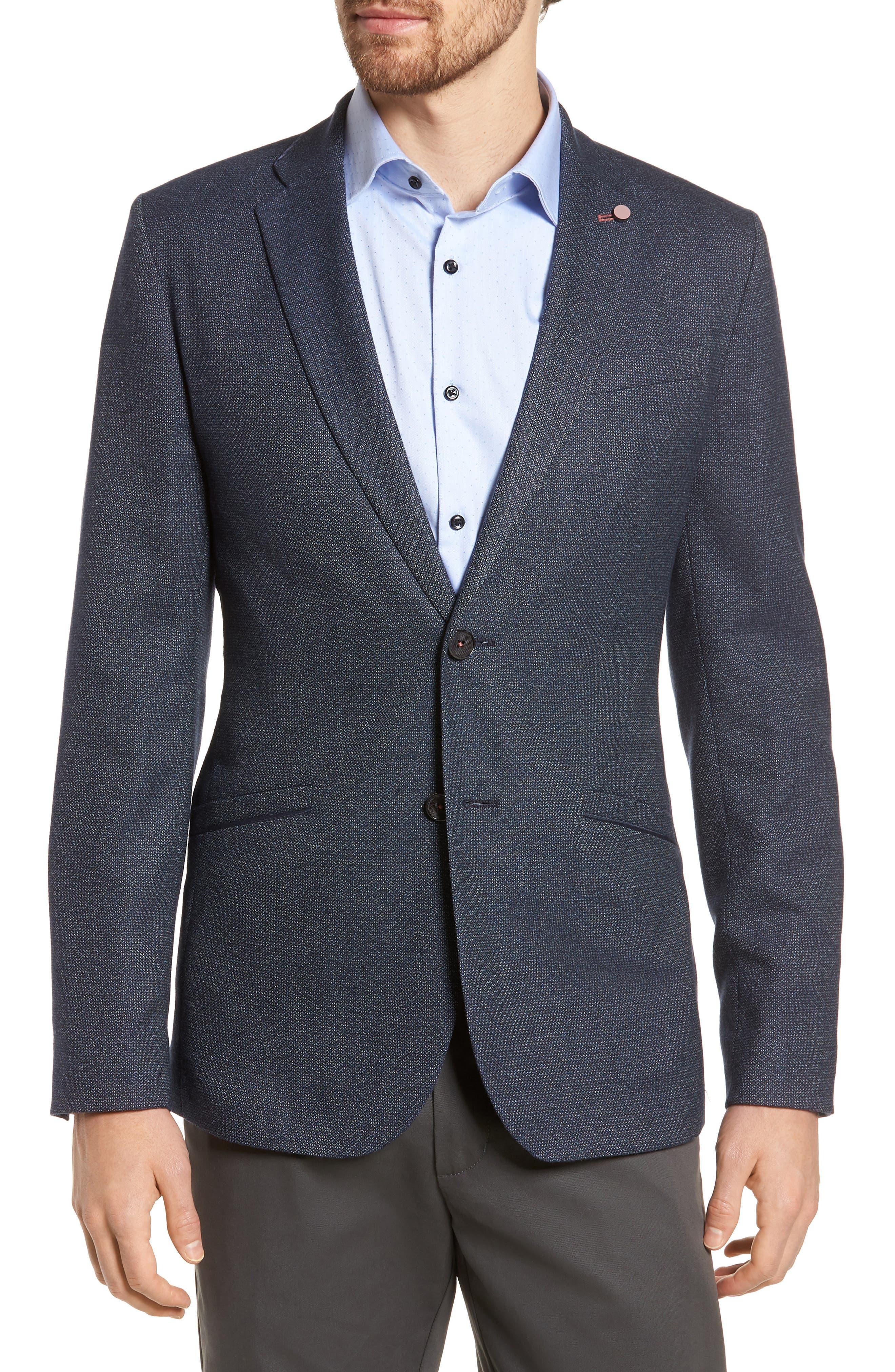 Burke Semi Plain Trim Fit Jacket,                         Main,                         color, Navy