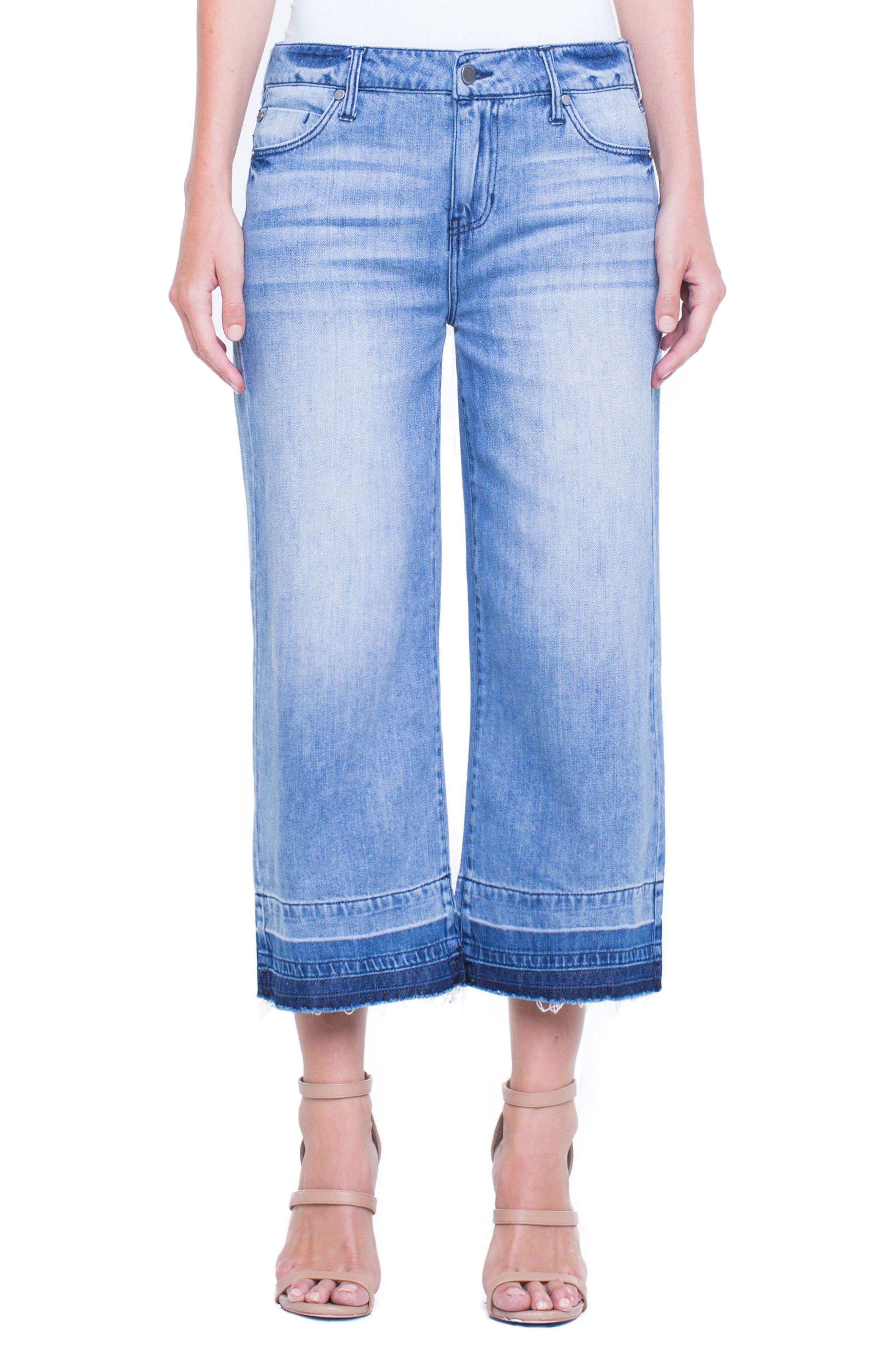 Release Hem Wide Crop Jeans,                         Main,                         color, Denmark Grind