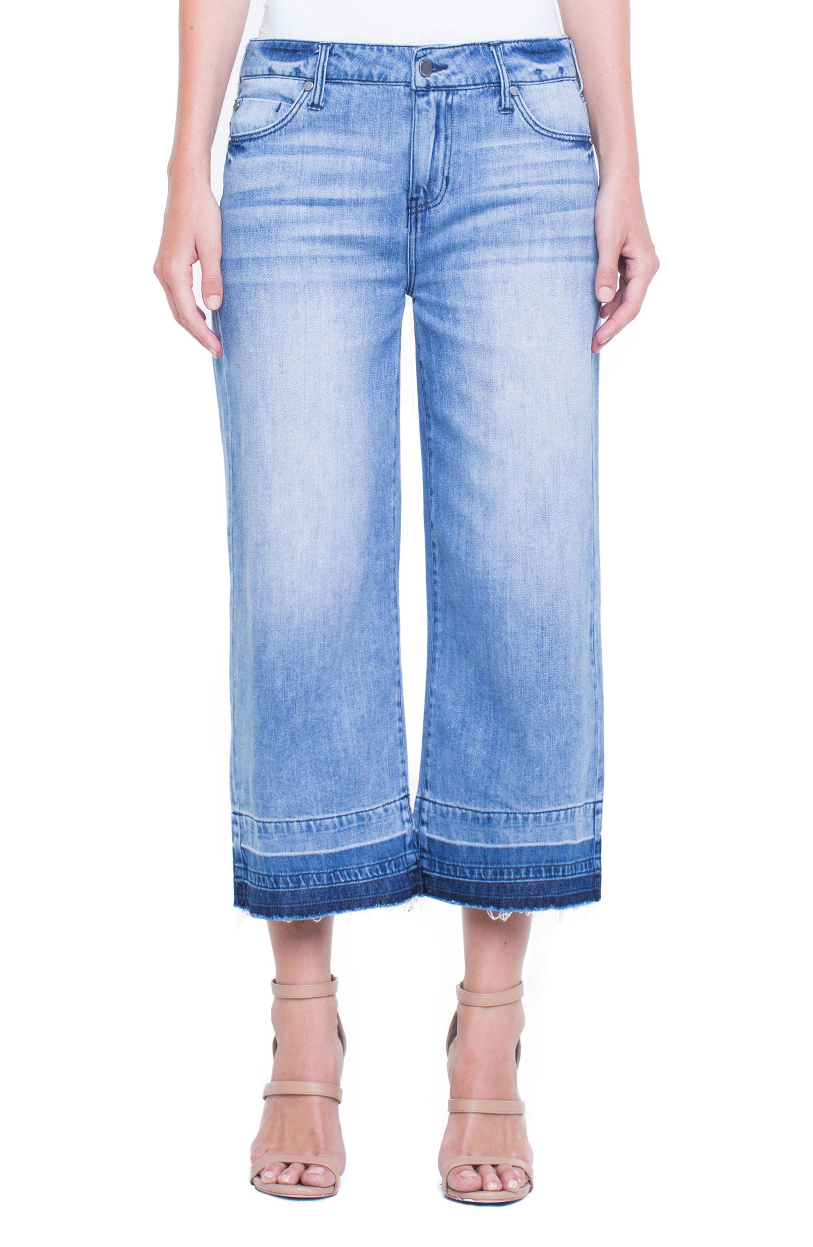 Liverpool Jeans Company Release Hem Wide Crop Jeans (Denmark Grind)