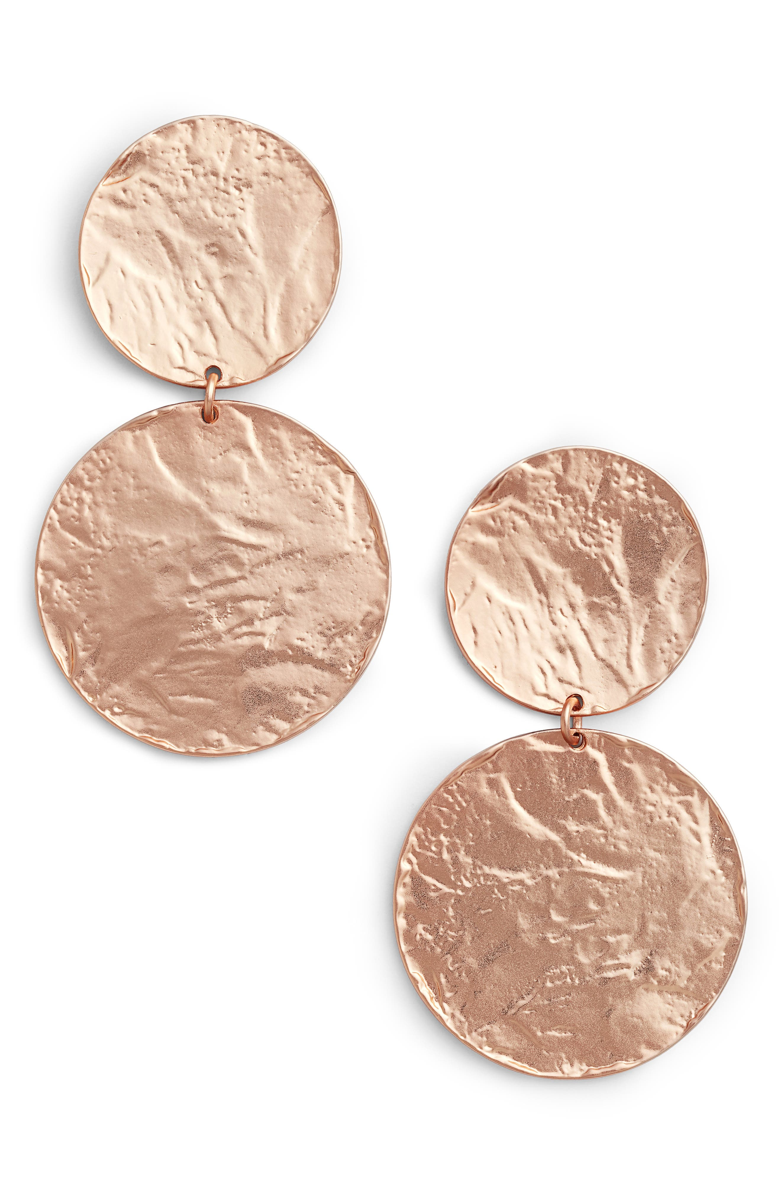 Angelique Large Circle Drop Earrings,                             Main thumbnail 1, color,                             Rose Gold