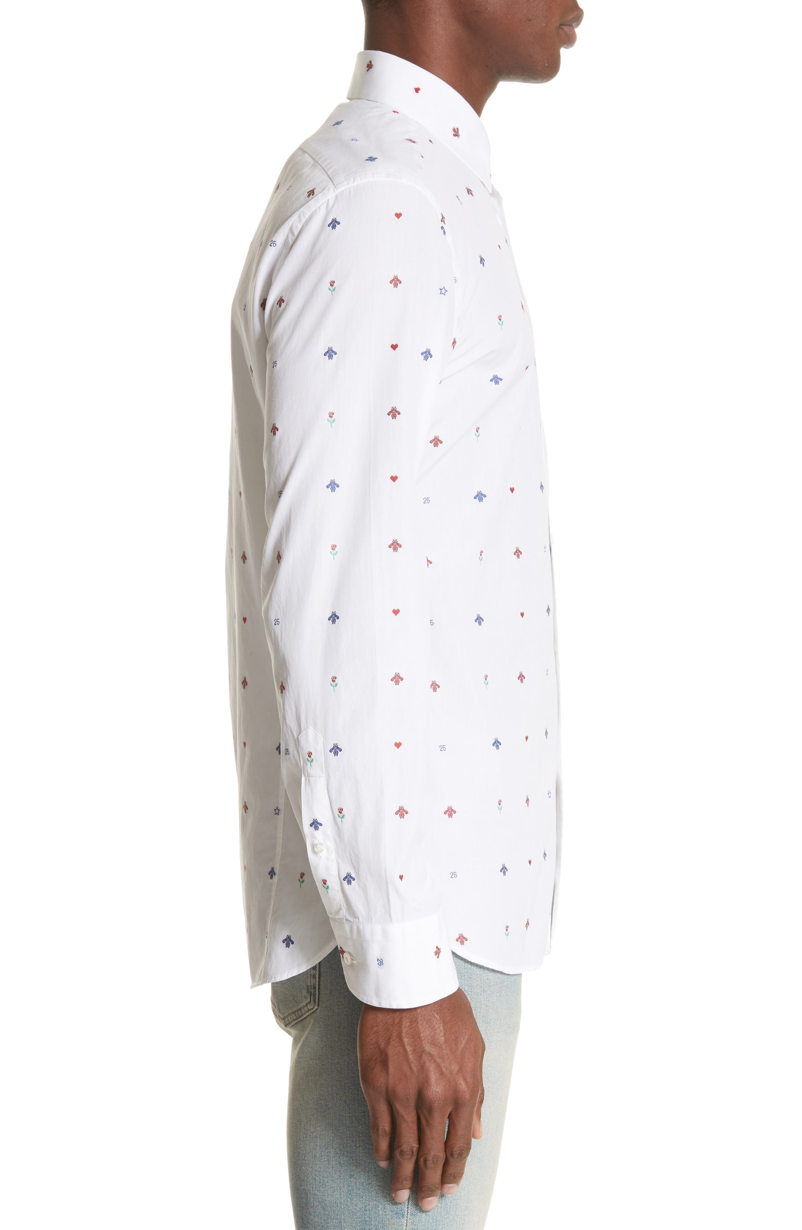 Allover Bee Print Woven Shirt,                             Alternate thumbnail 4, color,                             9000 White