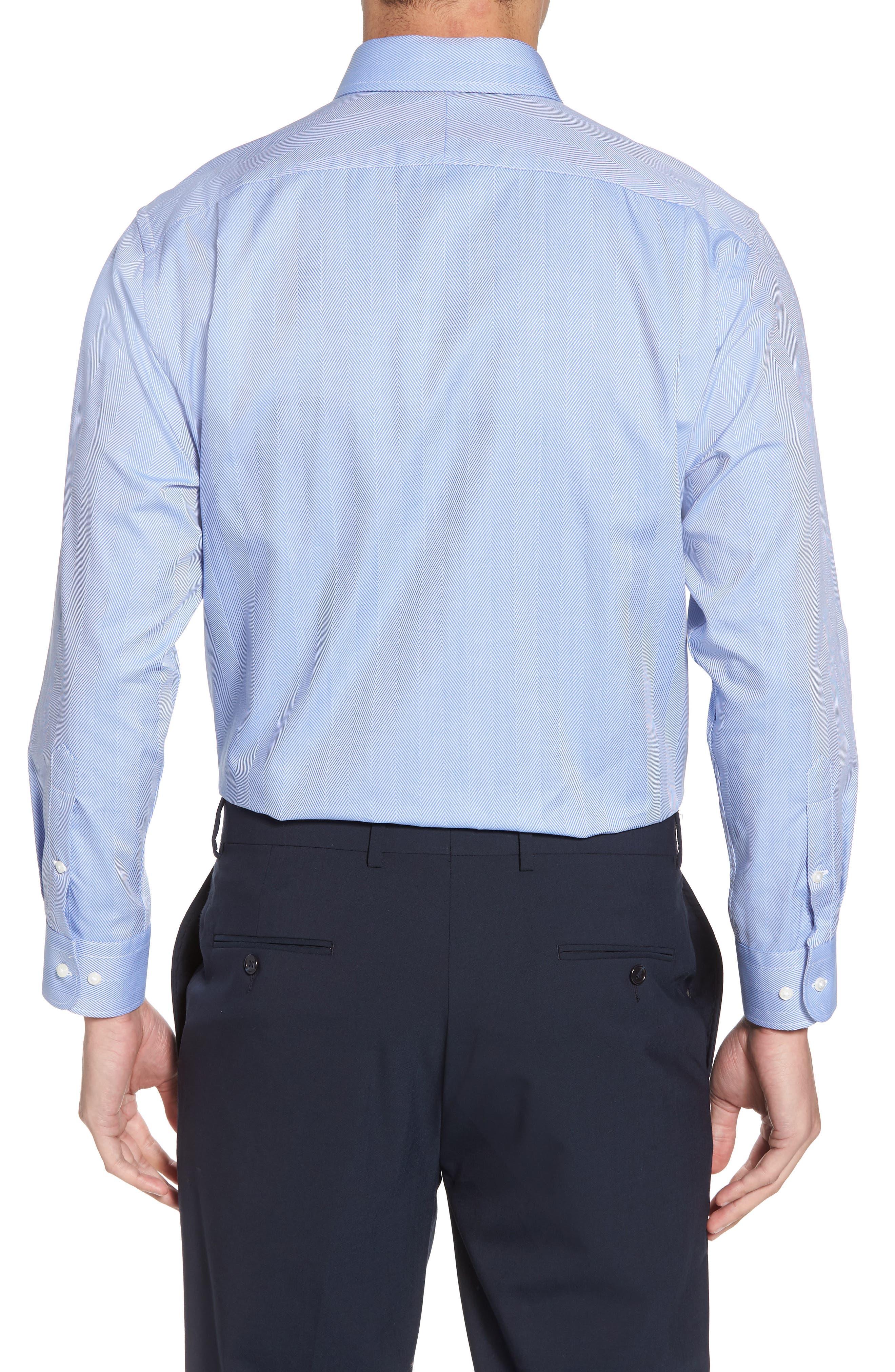 Traditional Fit Herringbone Dress Shirt,                             Alternate thumbnail 3, color,                             Blue Provence