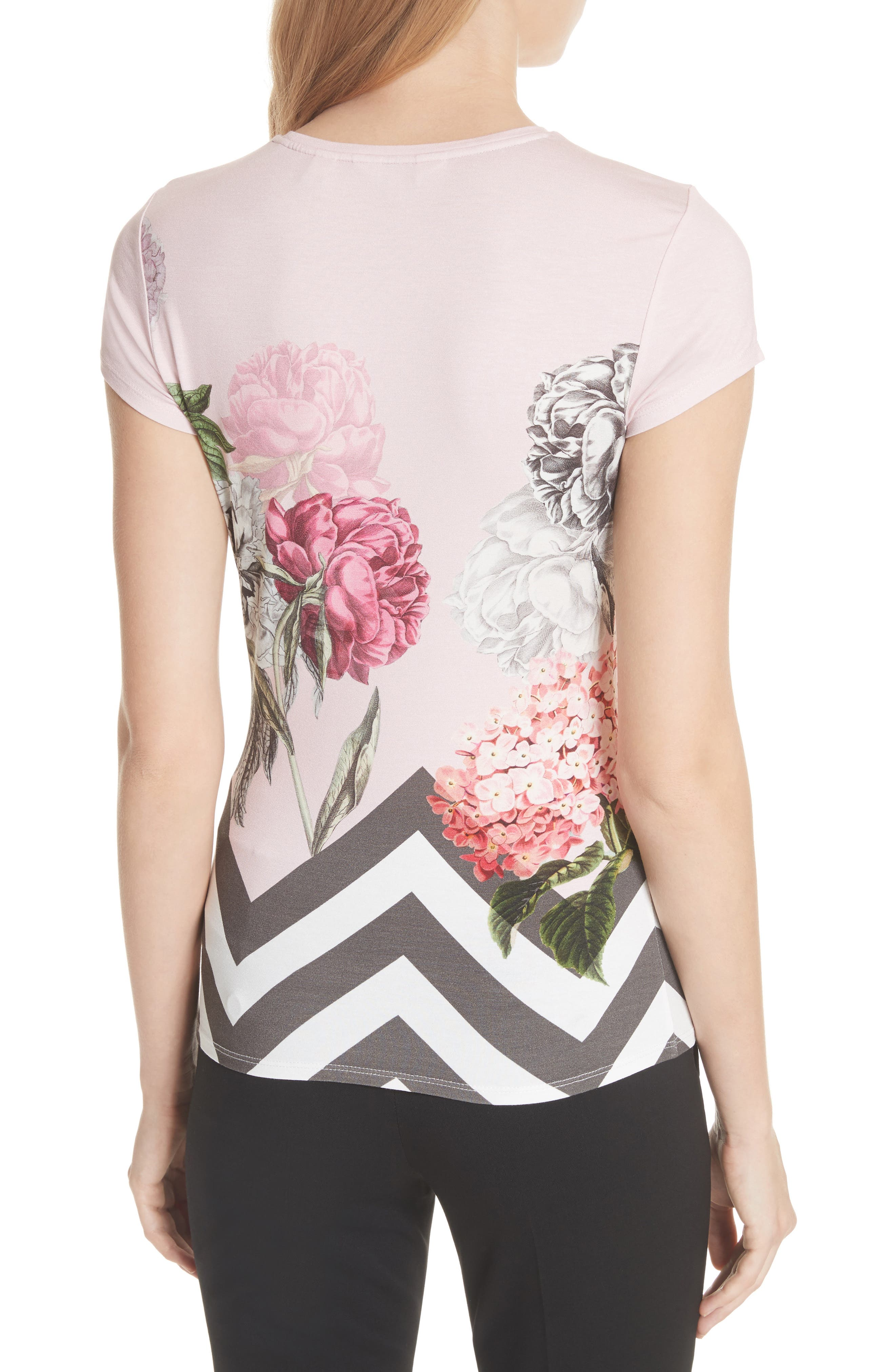 Palace Gardens Fitted Tee,                             Alternate thumbnail 2, color,                             Dusky Pink