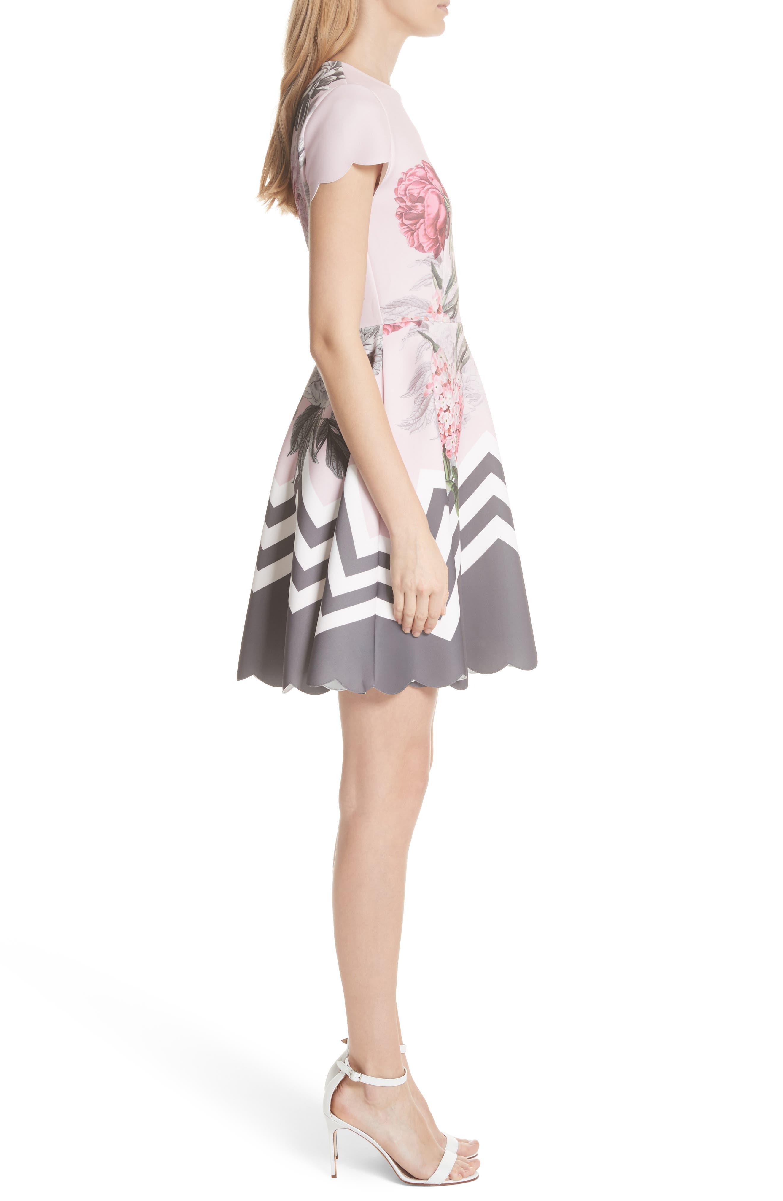 Palace Gardens Skater Dress,                             Alternate thumbnail 3, color,                             Dusky Pink