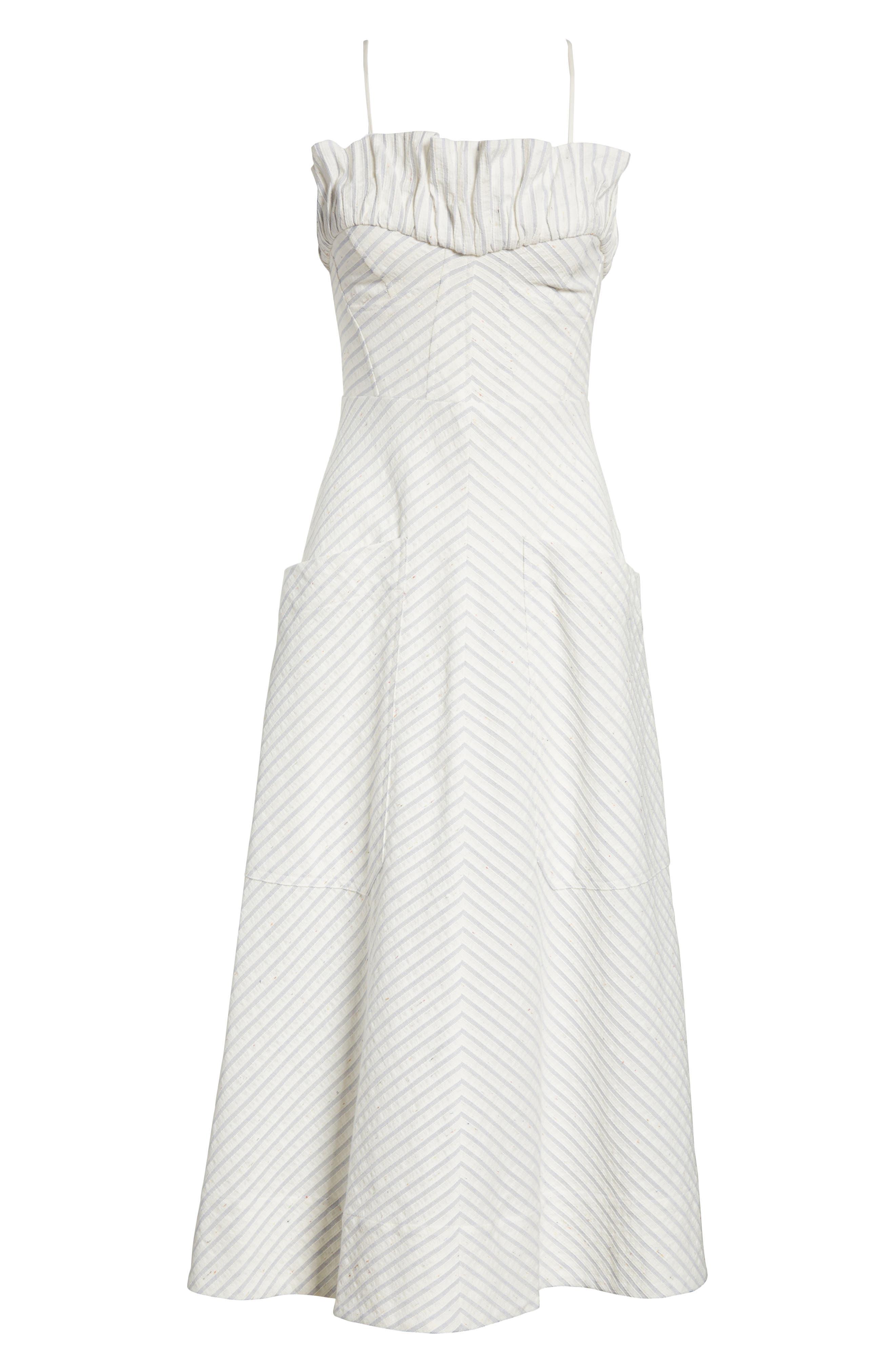 Ruffled Stripe Midi Dress,                             Alternate thumbnail 6, color,                             Blue Combo