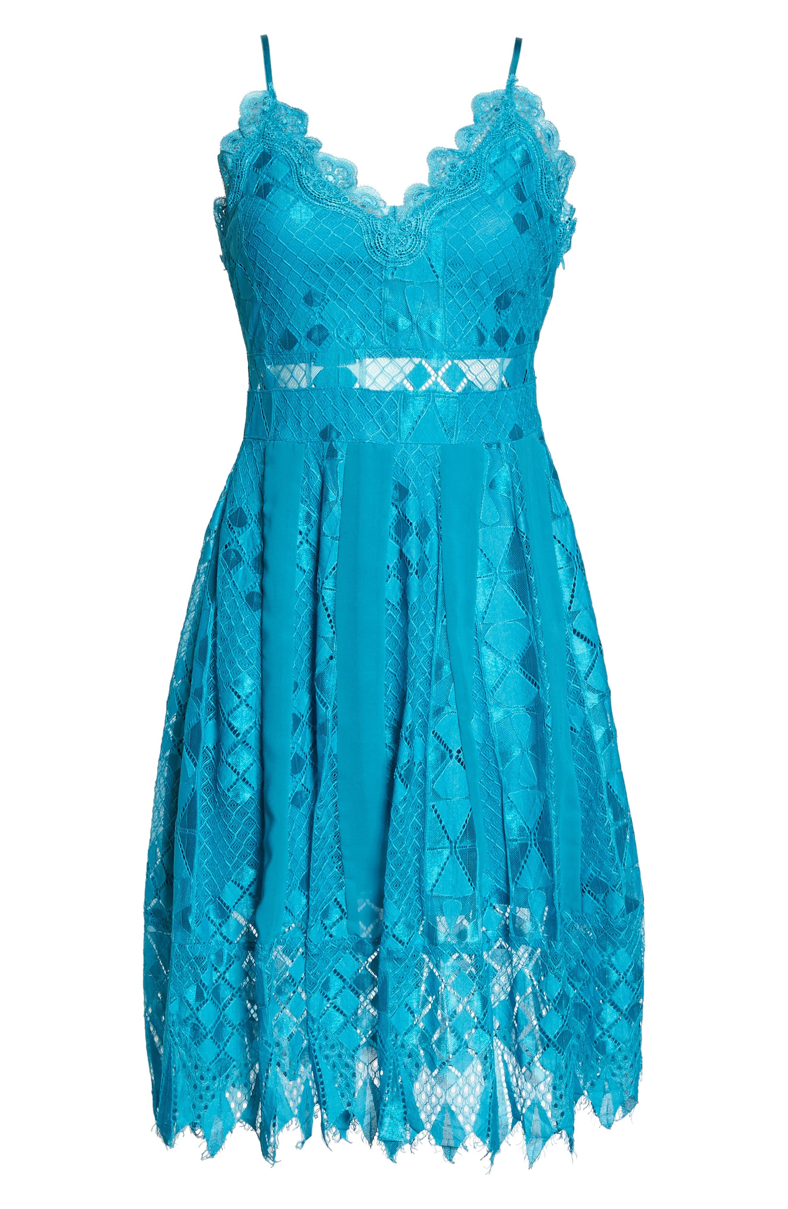 Calla Geometric Lace Dress,                             Alternate thumbnail 6, color,                             Light Blue