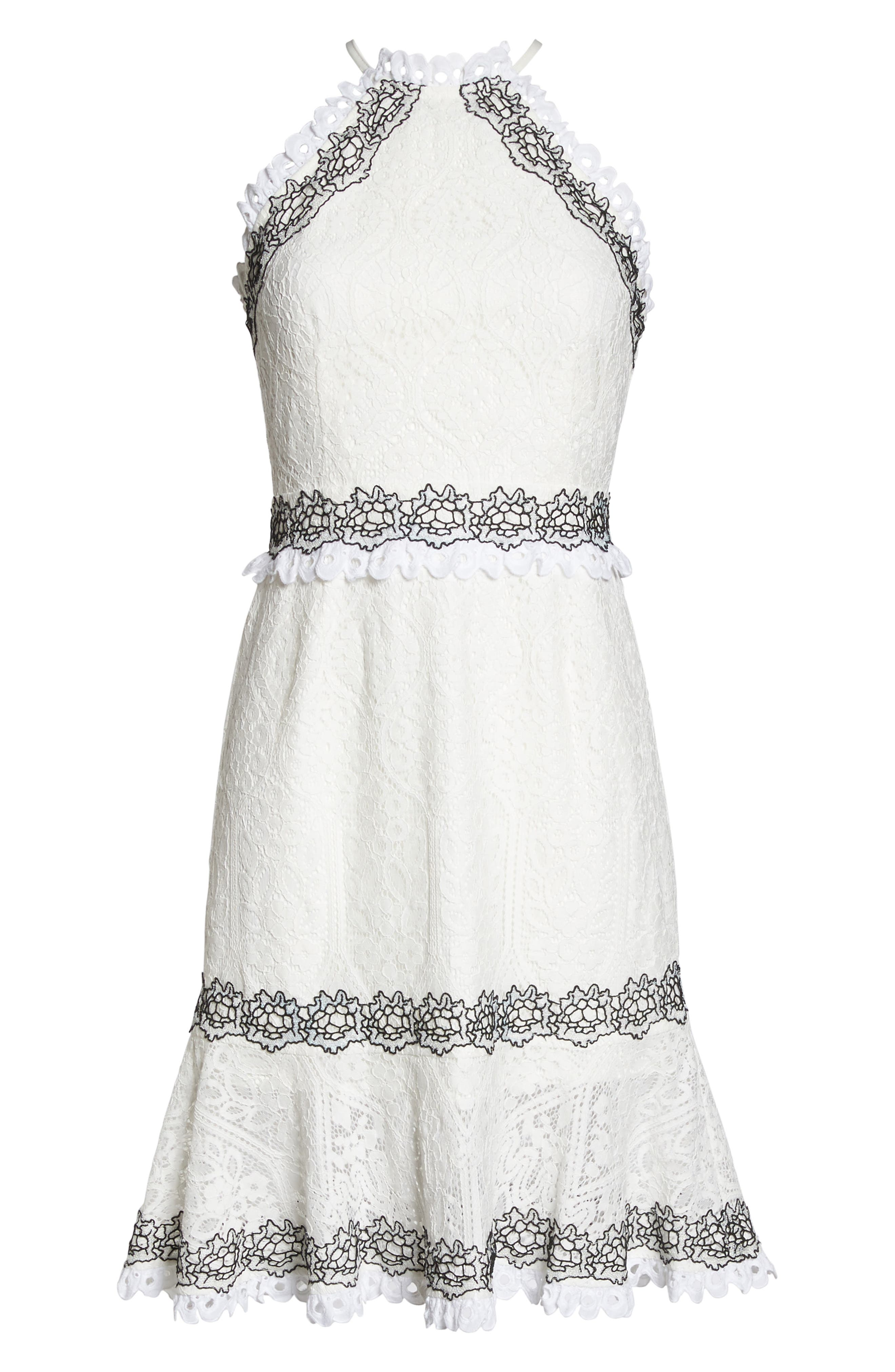 Frances Embroidered Lace Halter Dress,                             Alternate thumbnail 6, color,                             Offwhite