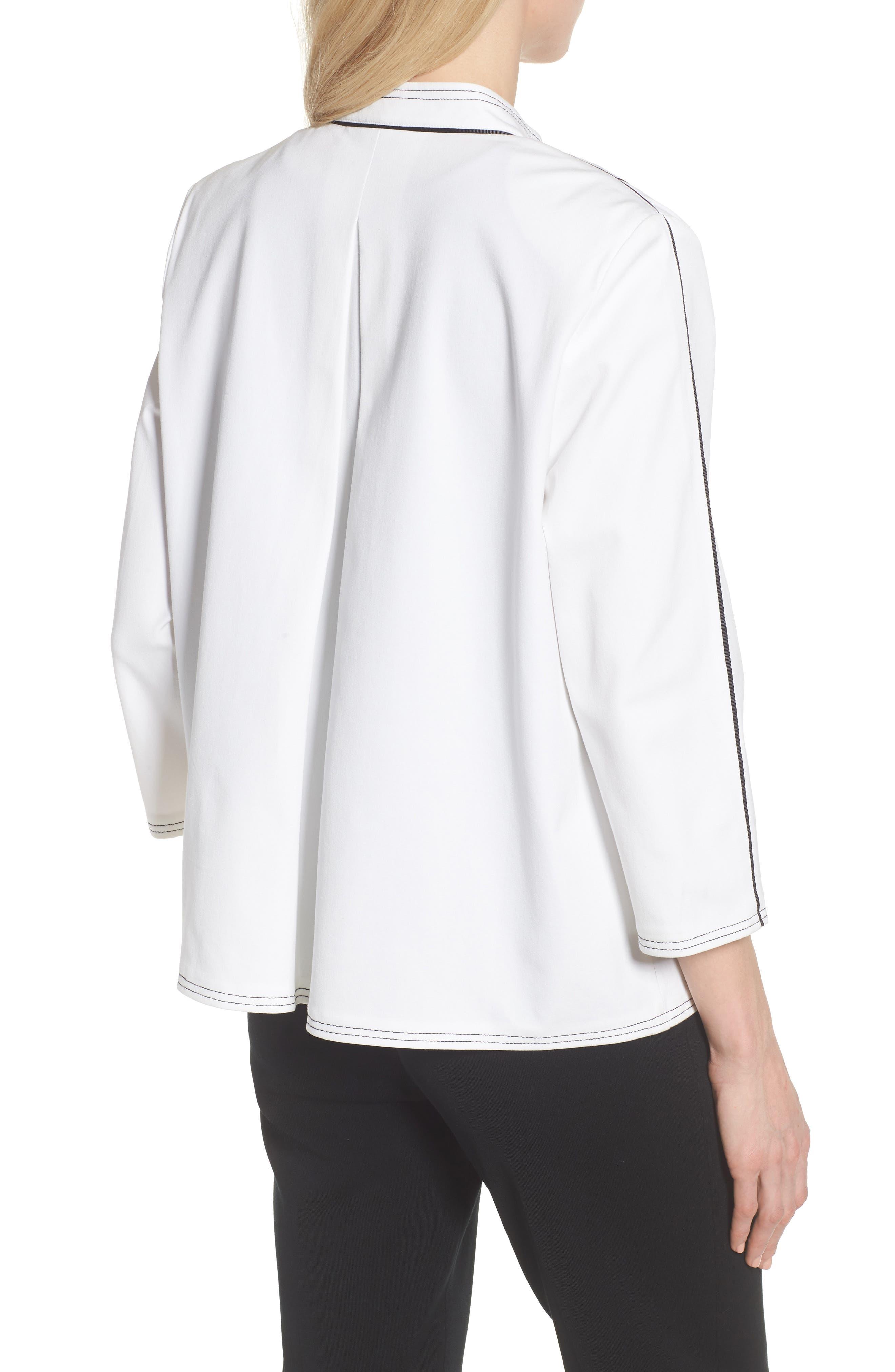Mandarin Collar Stitch Trim Jacket,                             Alternate thumbnail 2, color,                             White/ Black