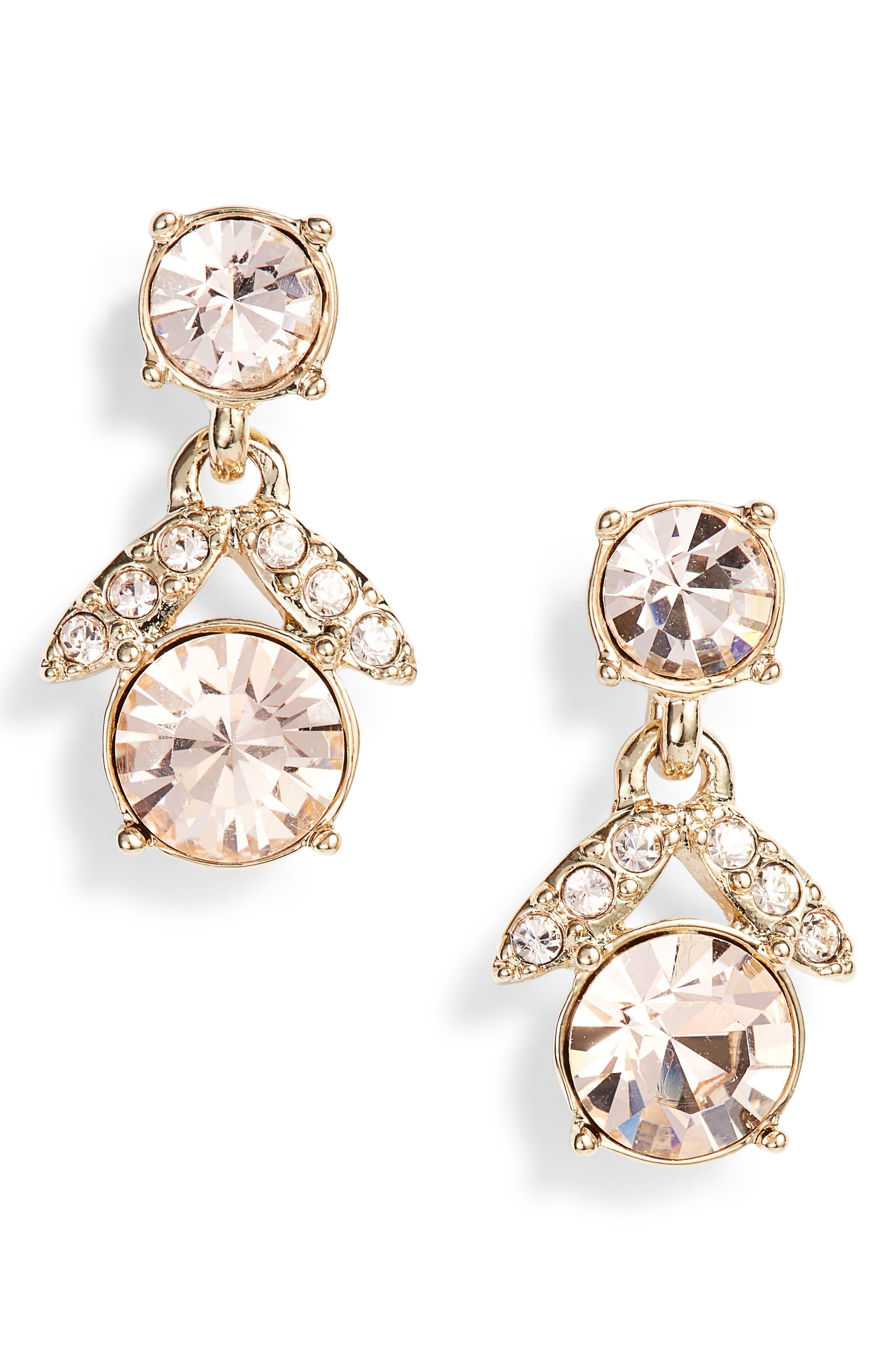 Crystal Drop Earrings,                         Main,                         color, Gold/ Silk