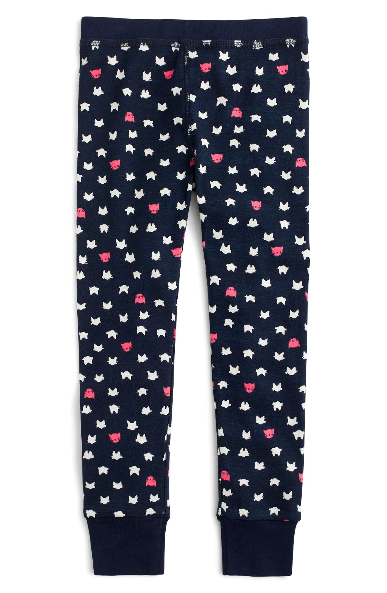 Sleepy Cats Fitted Two-Piece Pajamas,                             Alternate thumbnail 3, color,                             Navy