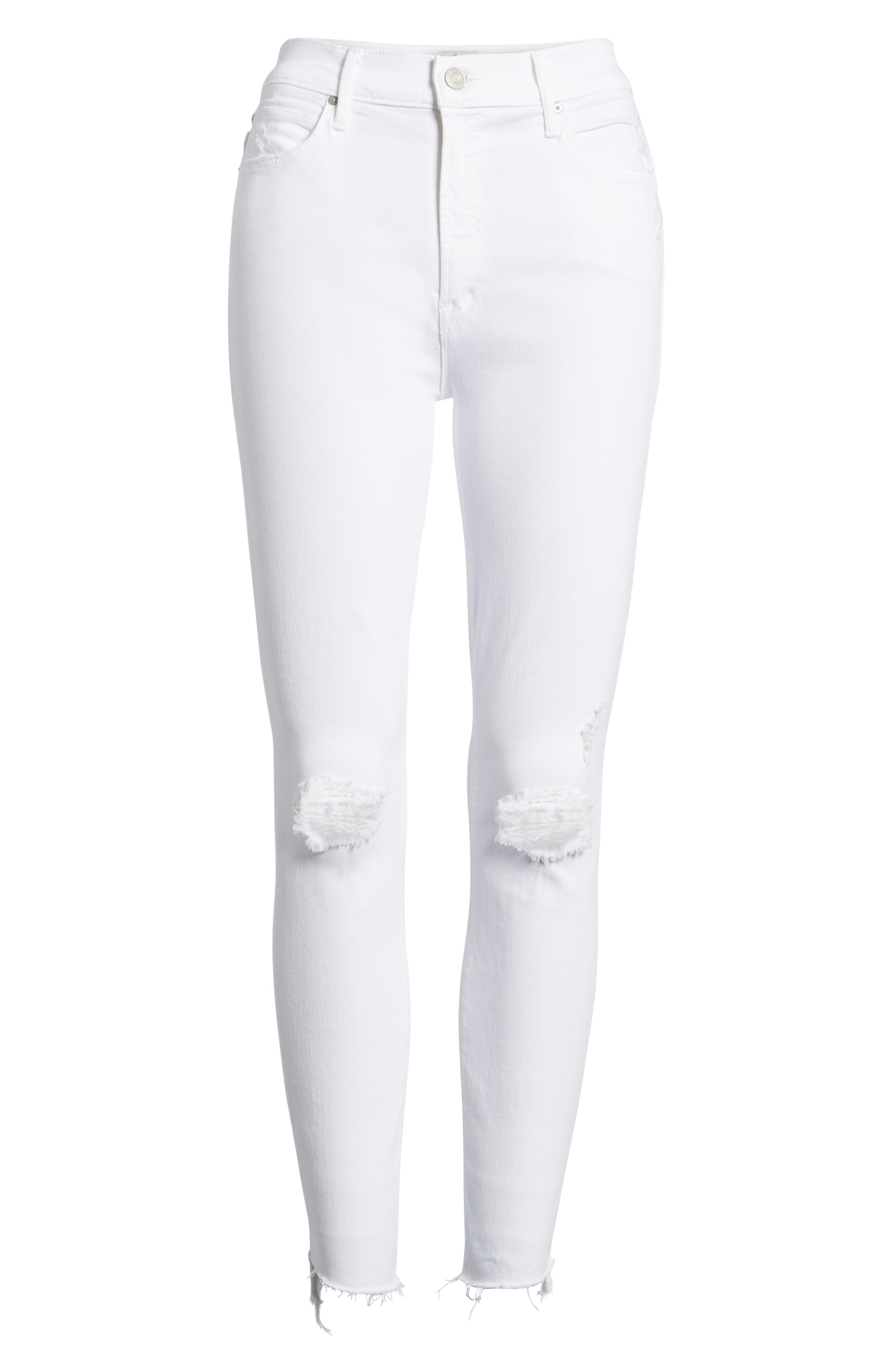 The Stunner High Waist Fray Ankle Skinny Jeans,                             Alternate thumbnail 7, color,                             Little Miss Innocent