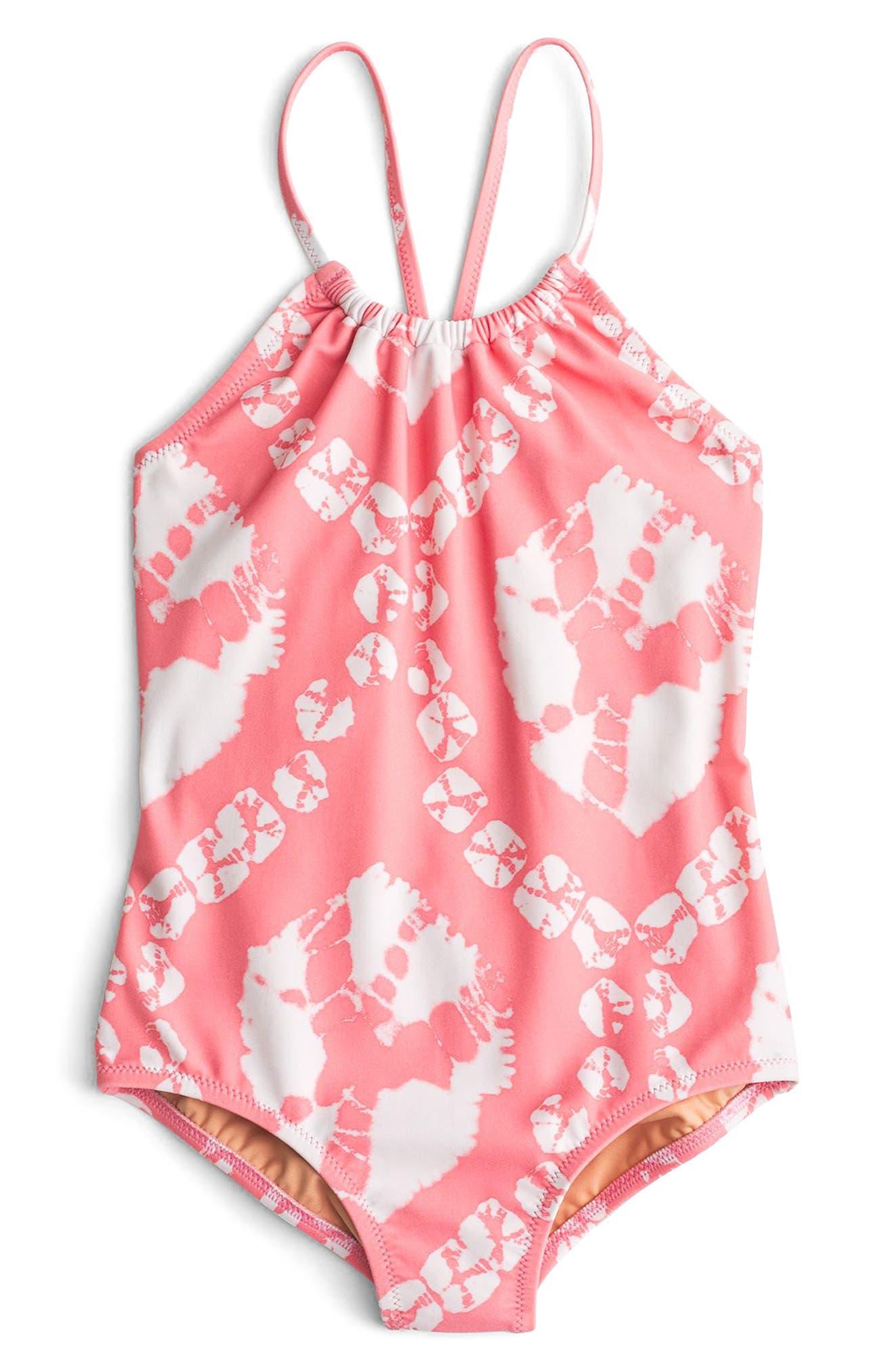 Tie Dye One-Piece Swimsuit,                             Main thumbnail 1, color,                             Pink Orange Multi Ka3139