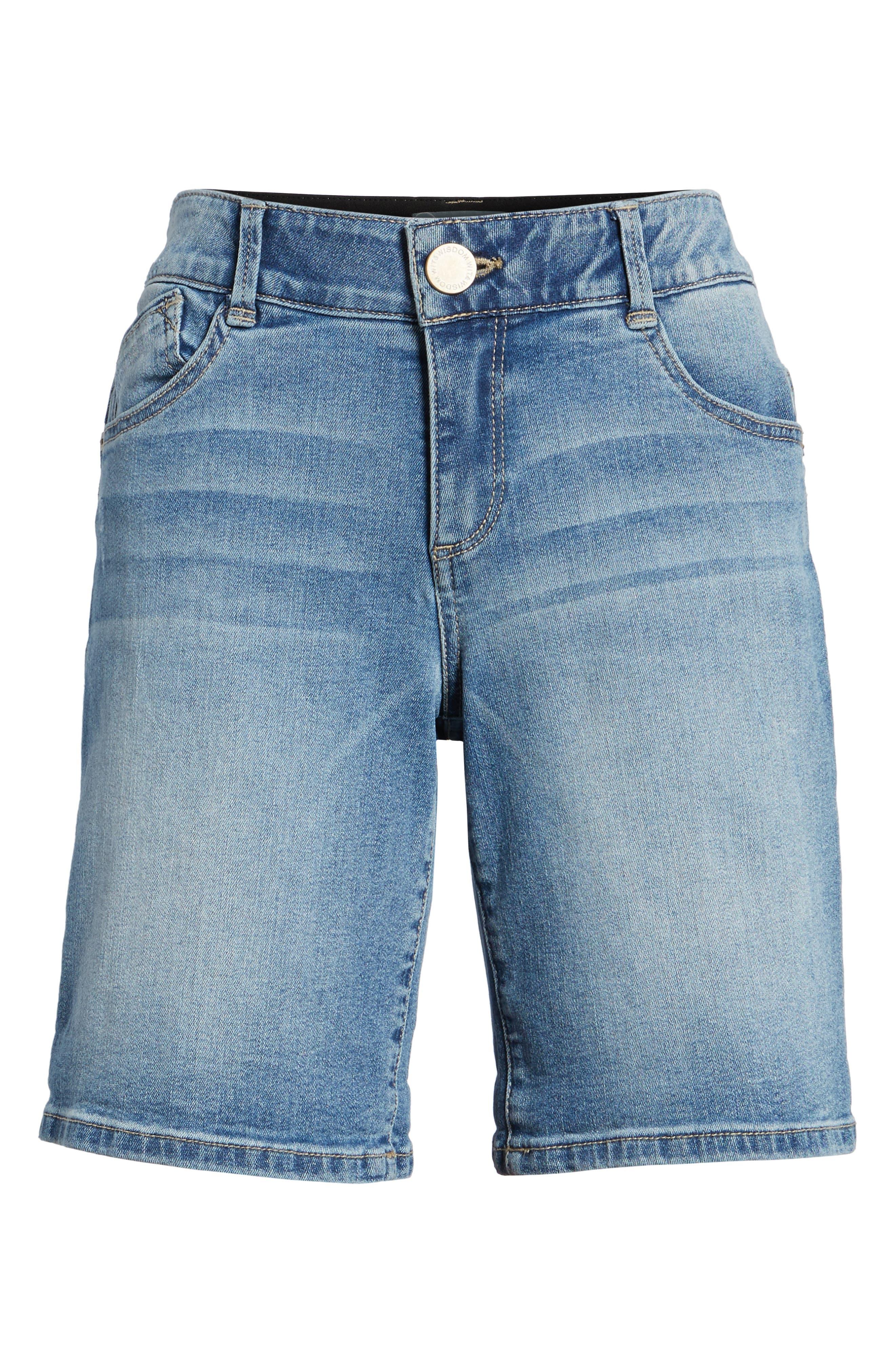 Ab-solution Denim Bermuda Shorts,                             Alternate thumbnail 6, color,                             Light Blue