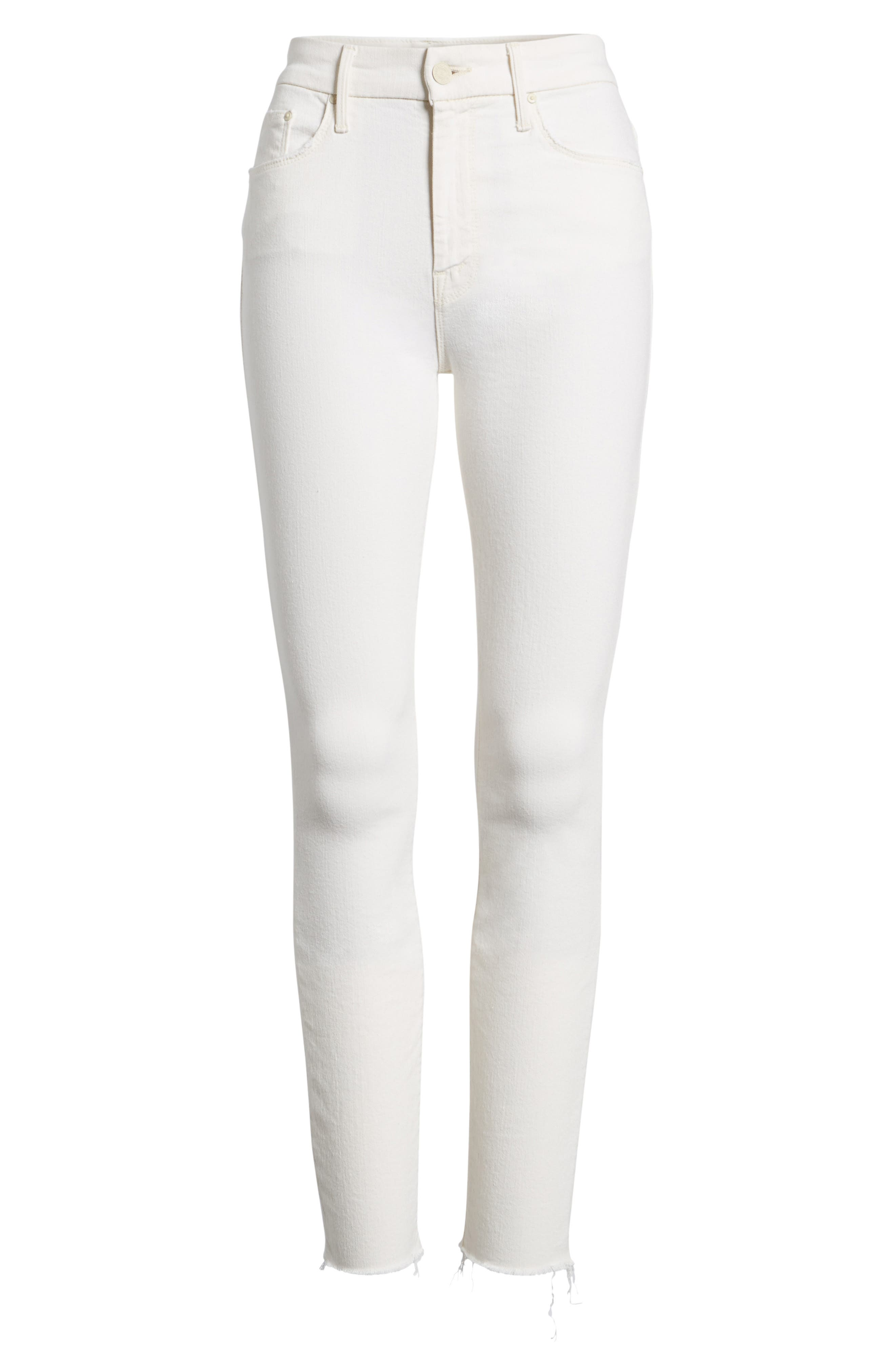 The Looker High Waist Fray Ankle Skinny Jeans,                             Alternate thumbnail 7, color,                             Whipping The Cream