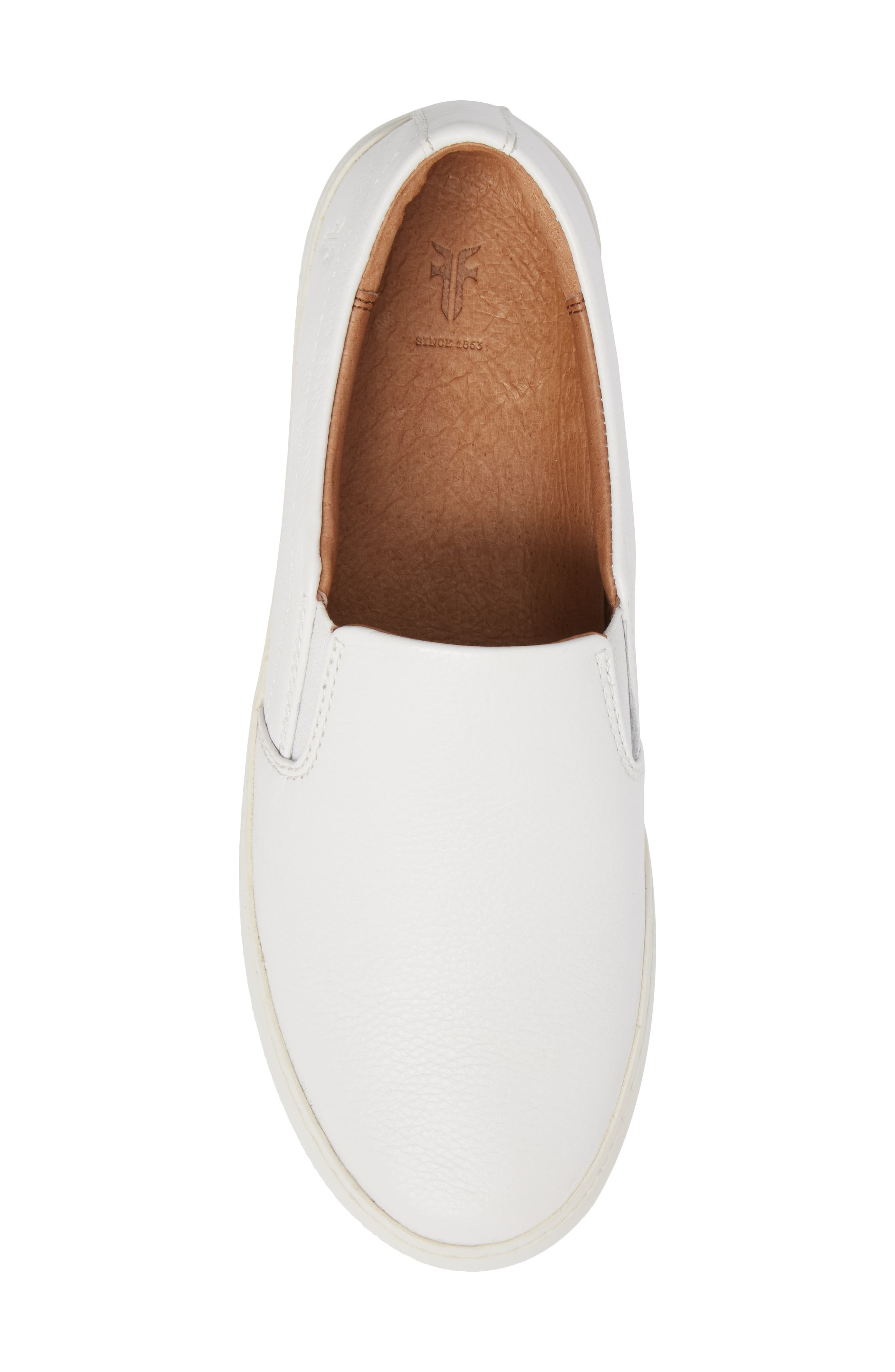 Lena Slip-On Sneaker,                             Alternate thumbnail 5, color,                             White Leather