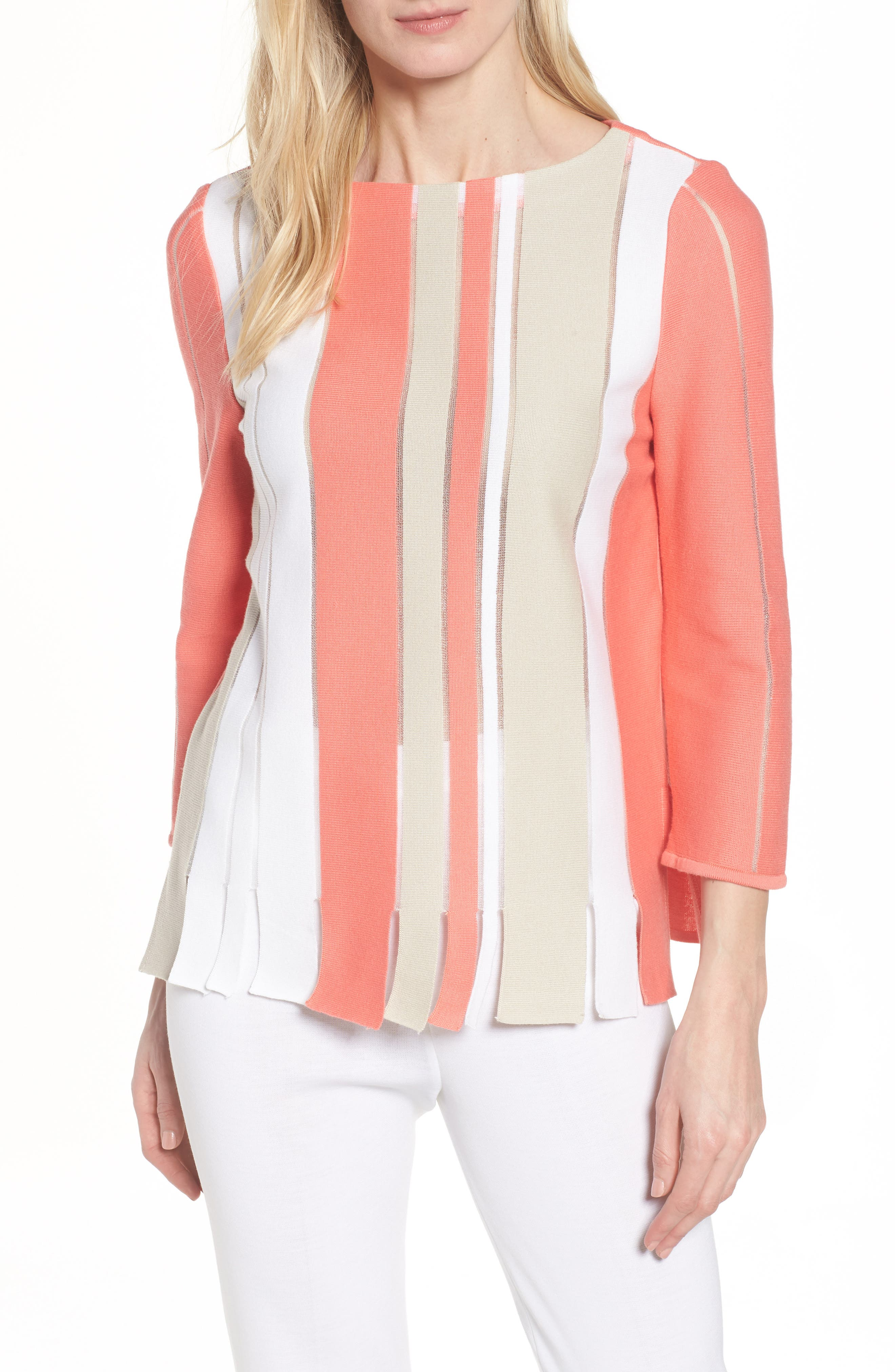 Stripe Cotton Blend Sweater,                             Main thumbnail 1, color,                             Daylily/ Almond Beige/ White