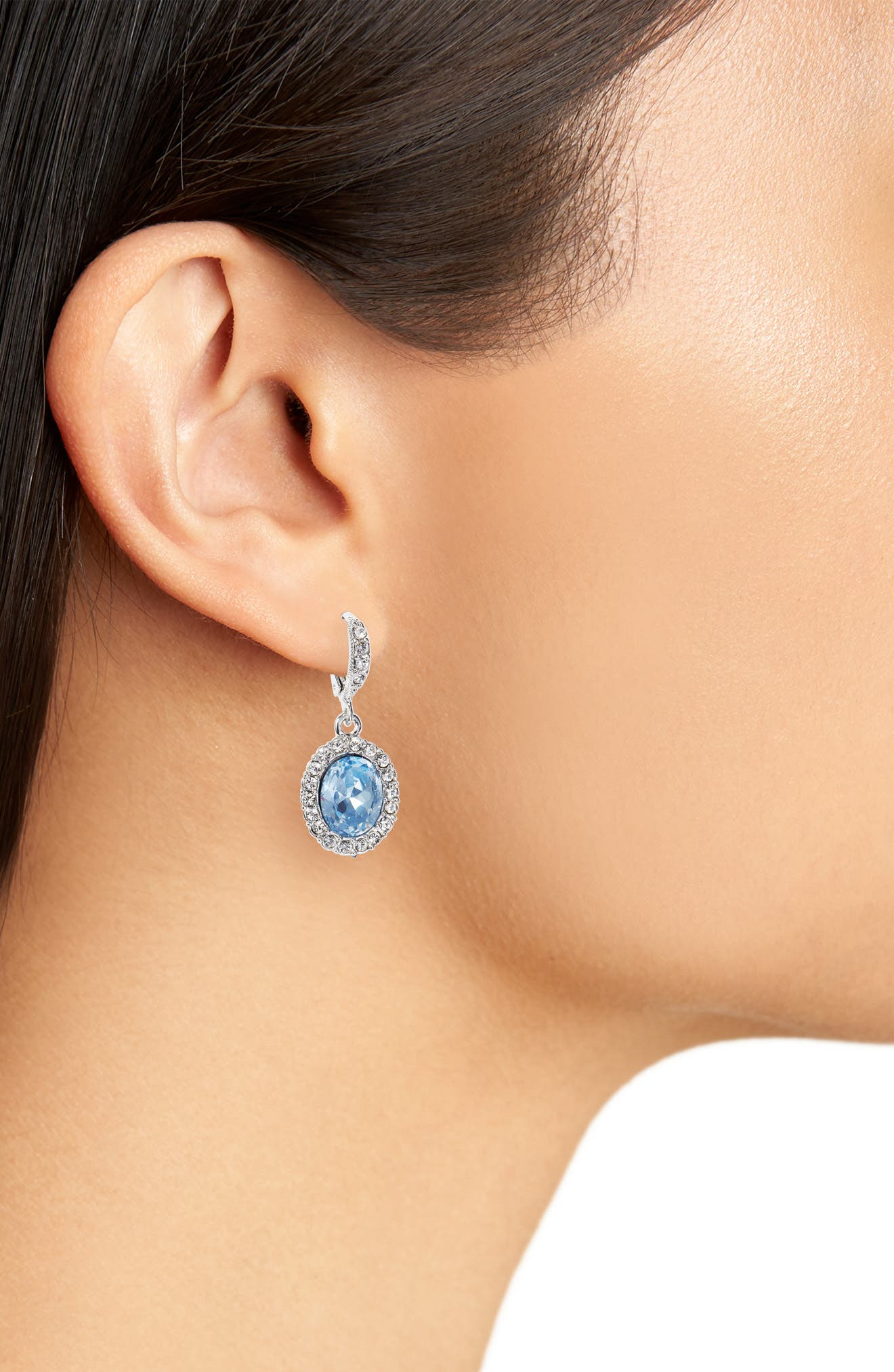 Pavé Drop Earrings,                             Alternate thumbnail 2, color,                             Silver/ Sapphire/ Crystal