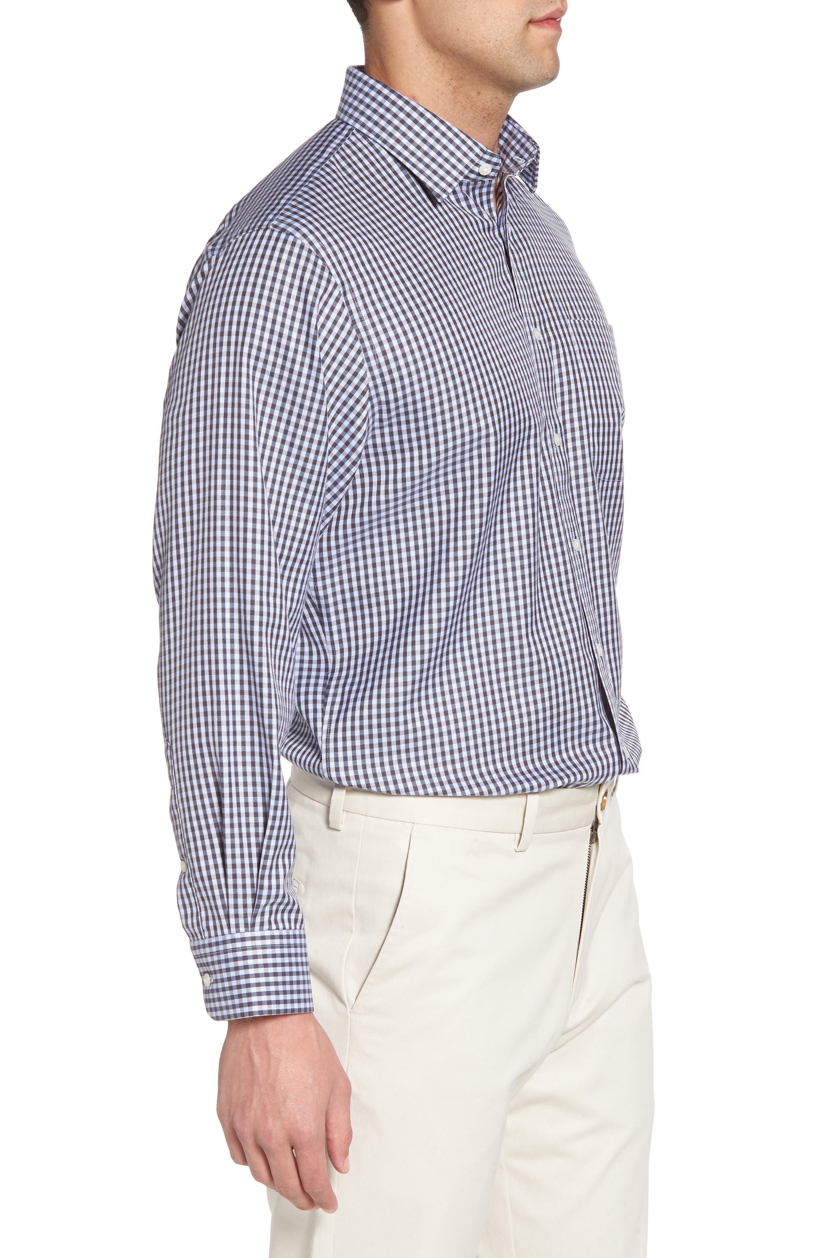 Smartcare<sup>™</sup> Traditional Fit Check Dress Shirt,                             Alternate thumbnail 4, color,                             Grey Stonehenge
