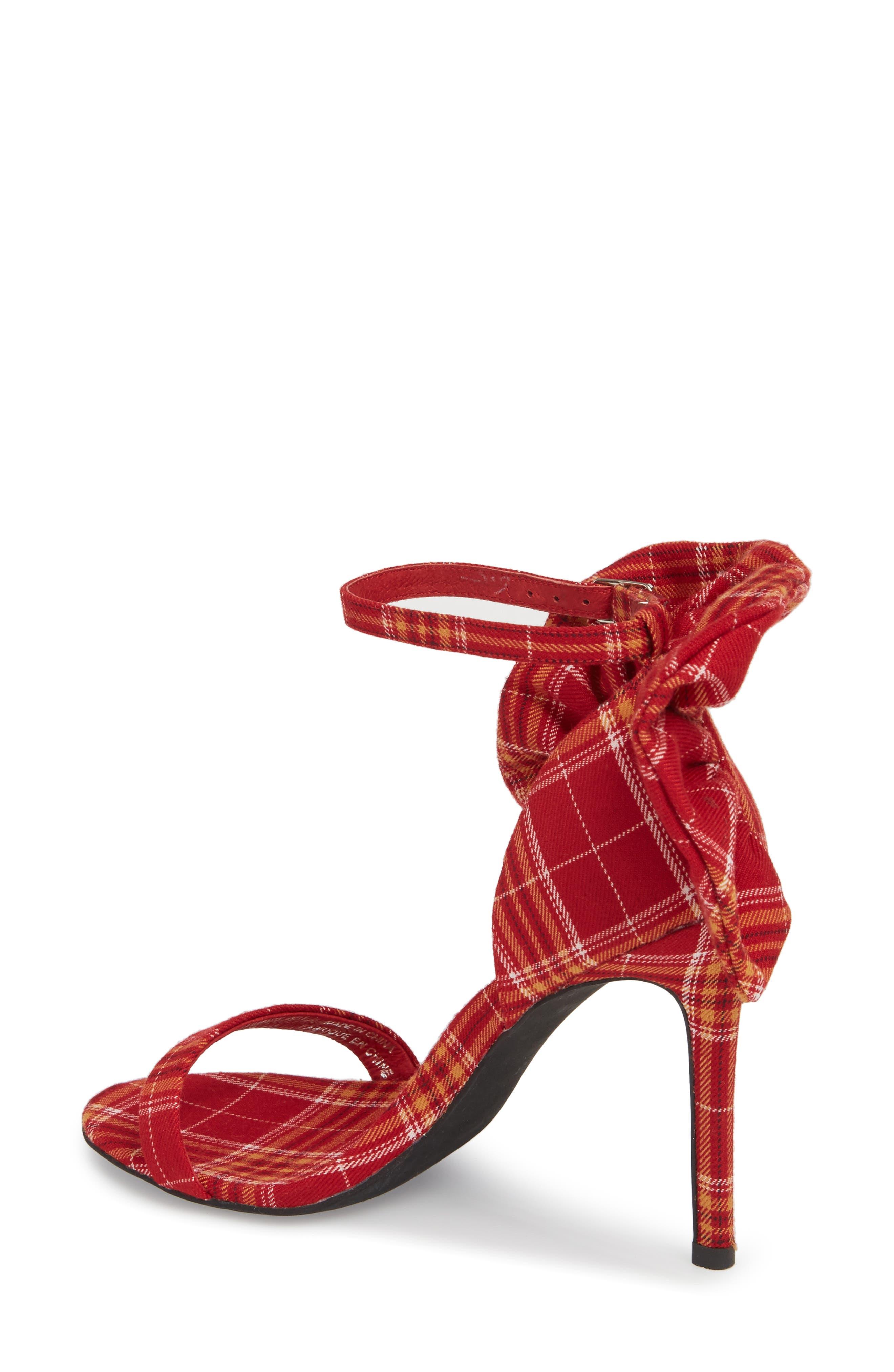 Cheshire Ruffle Sandal,                             Alternate thumbnail 2, color,                             Red Plaid Fabric