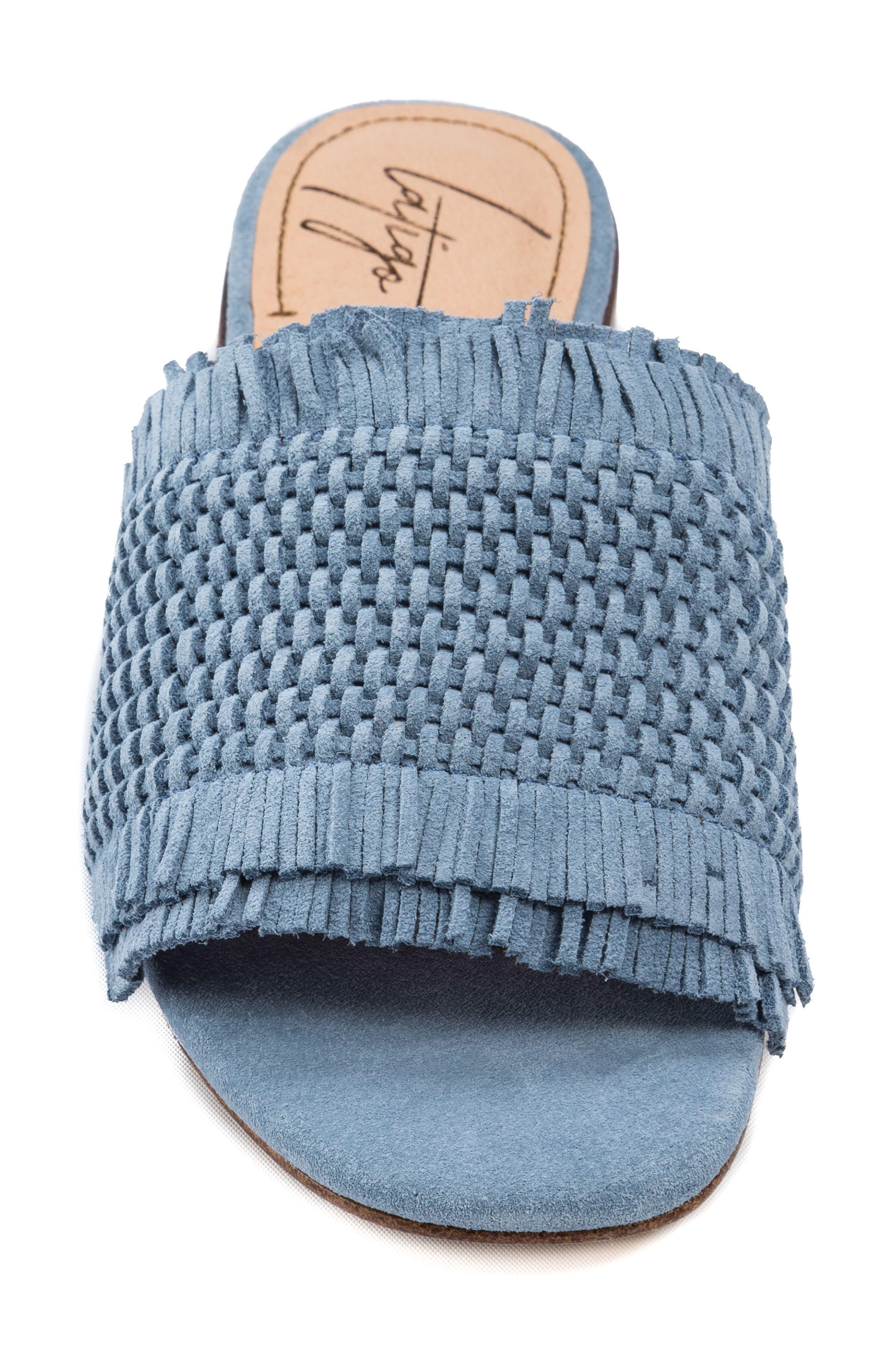 Sofie Fringed Slide Sandal,                             Alternate thumbnail 5, color,                             Light Blue