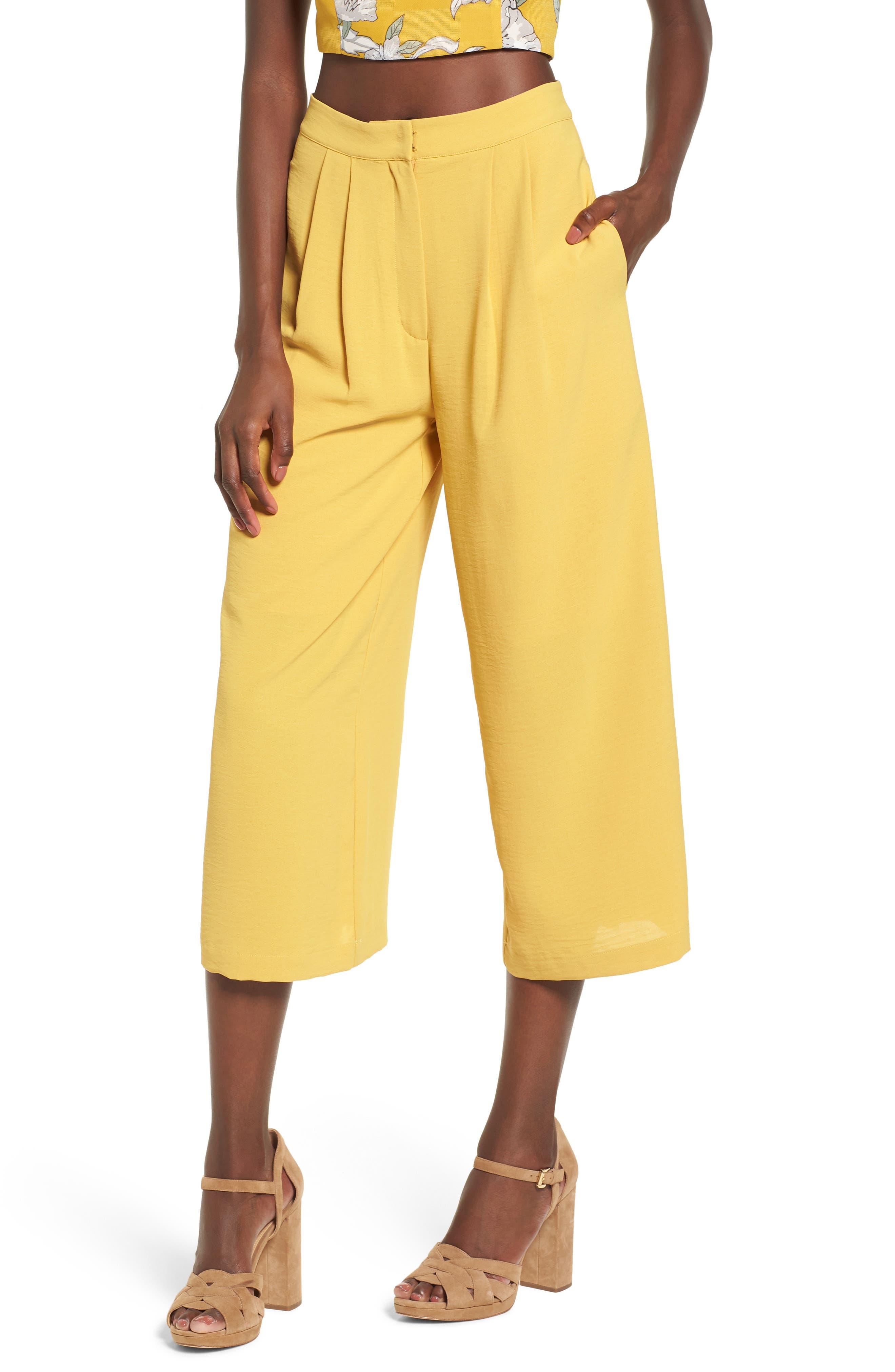 Chriselle x J.O.A. Pleat High Waist Crop Wide Leg Pants,                             Main thumbnail 1, color,                             Roman Gold