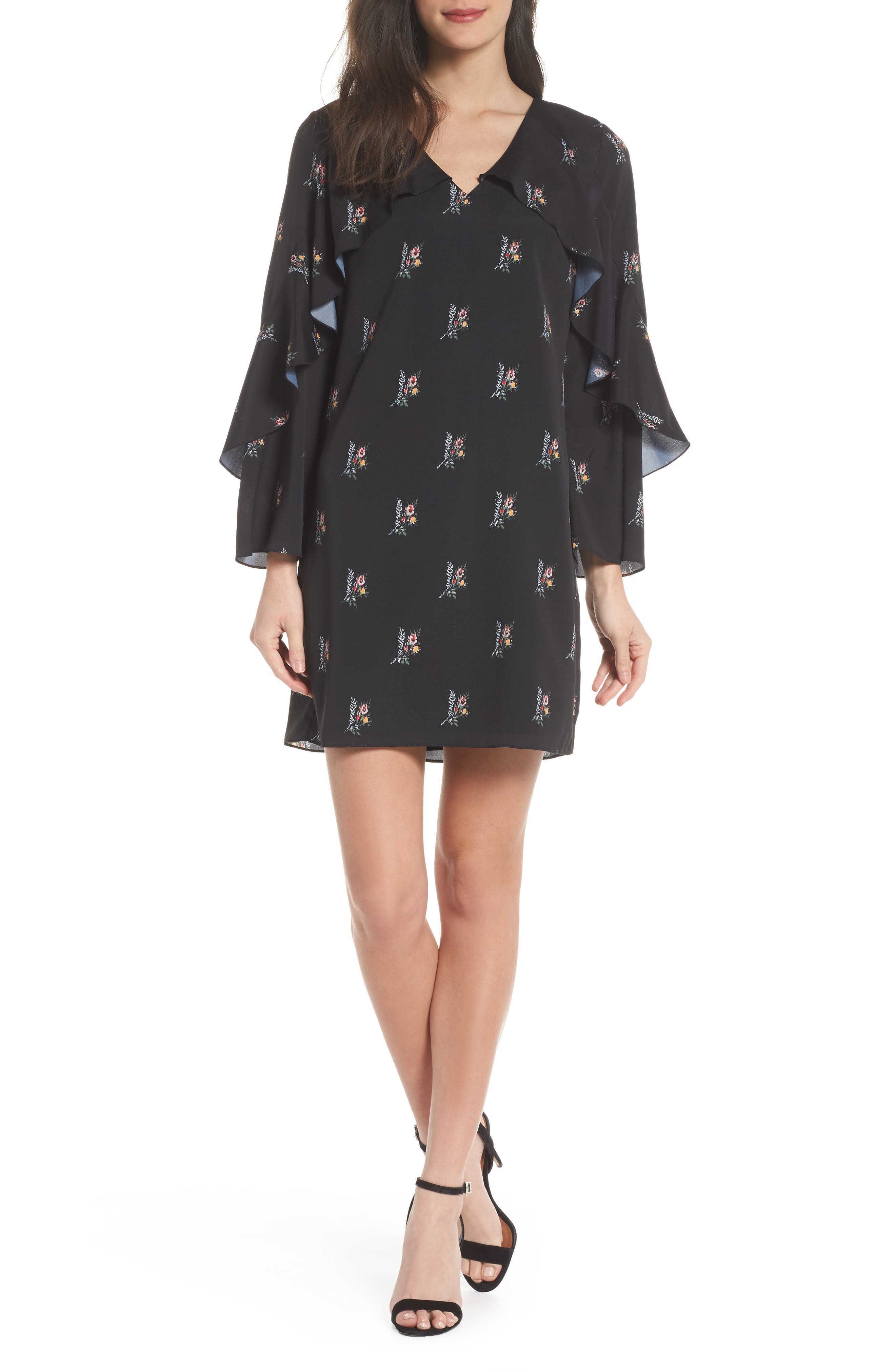 Olessia Ruffle Shift Dress,                             Main thumbnail 1, color,                             Black Multi
