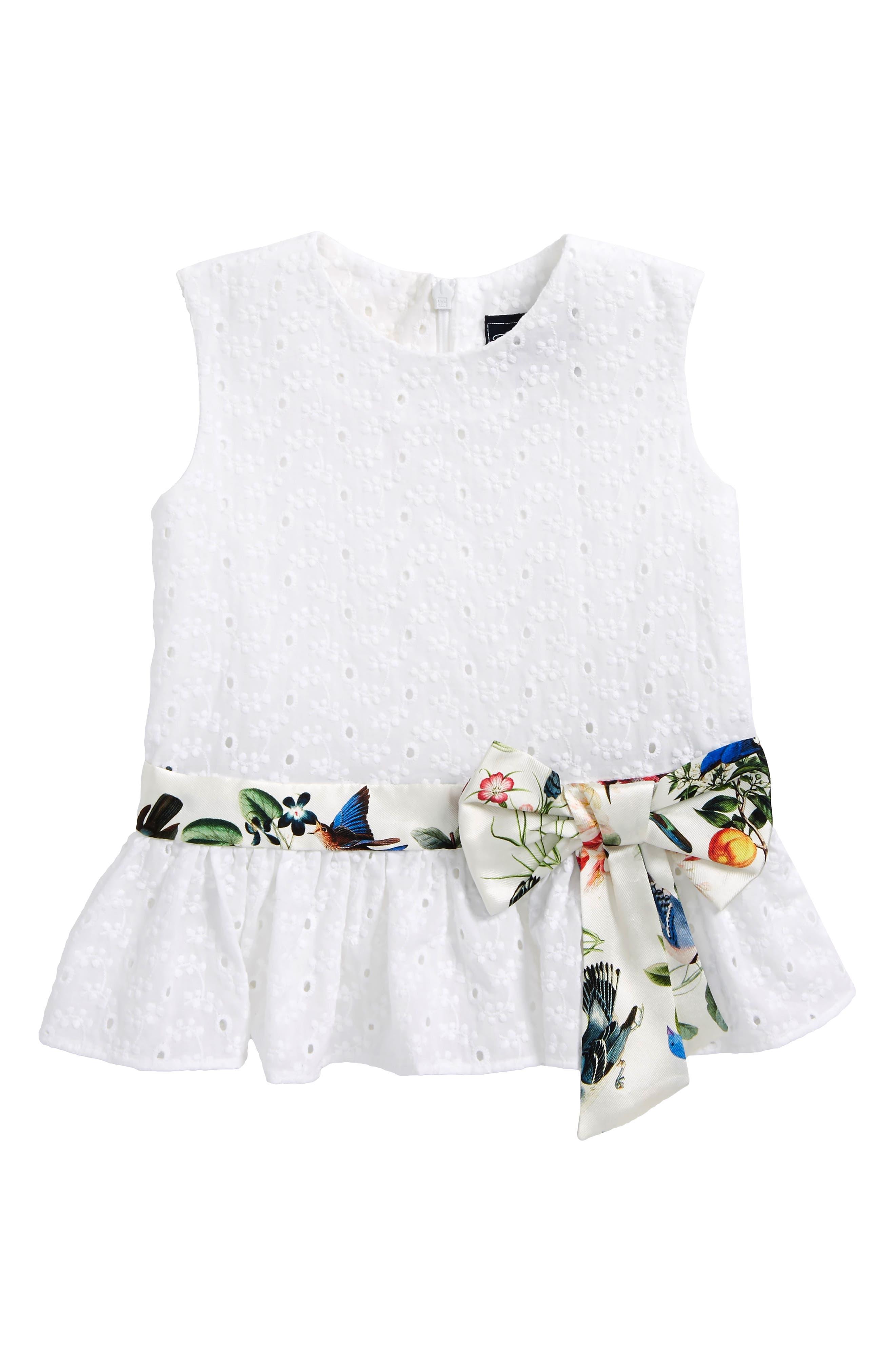 Small Flower Eyelet Peplum Dress,                         Main,                         color, White