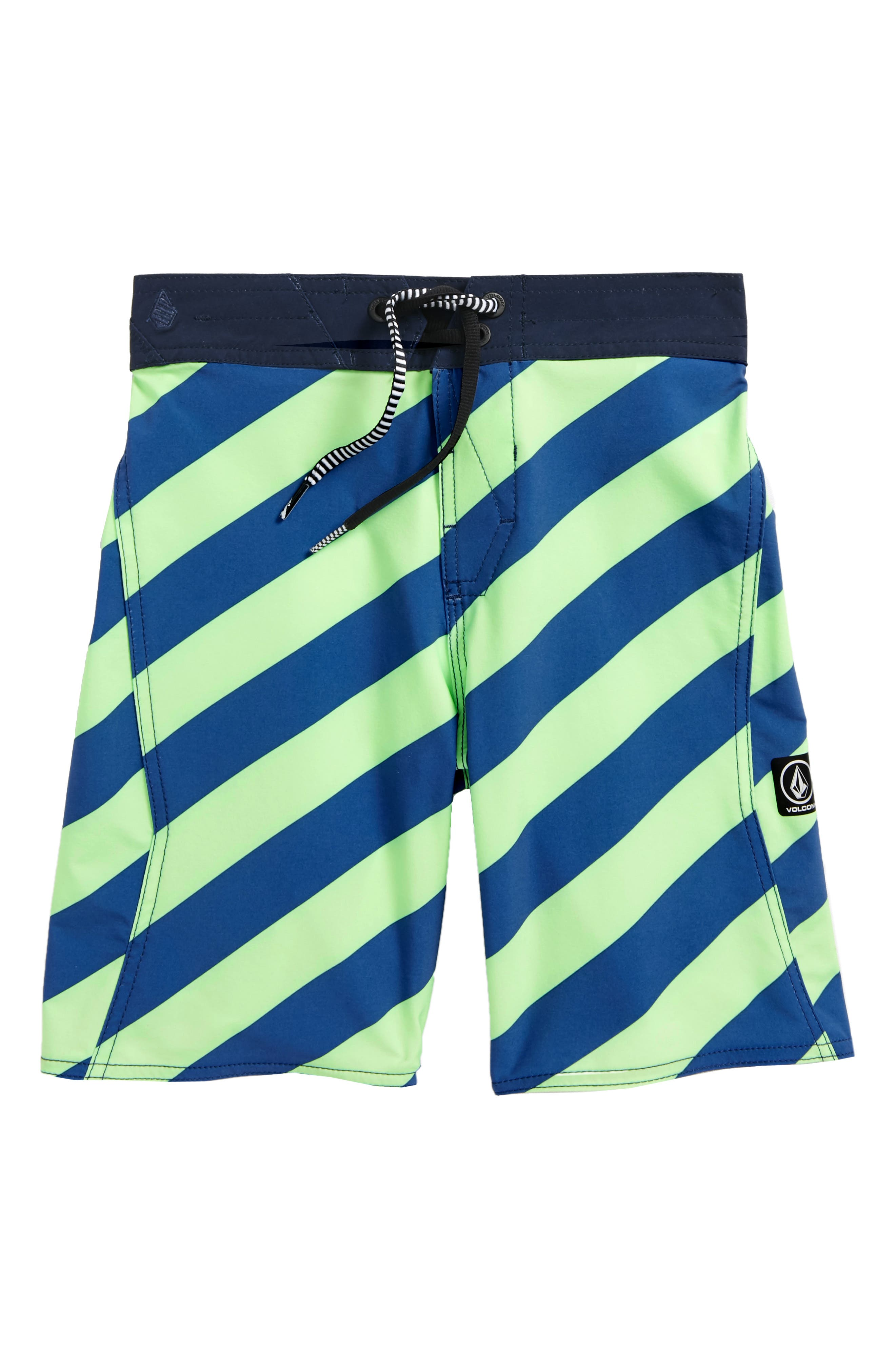 Stripey Swim Trunks,                             Main thumbnail 1, color,                             Strobe Green