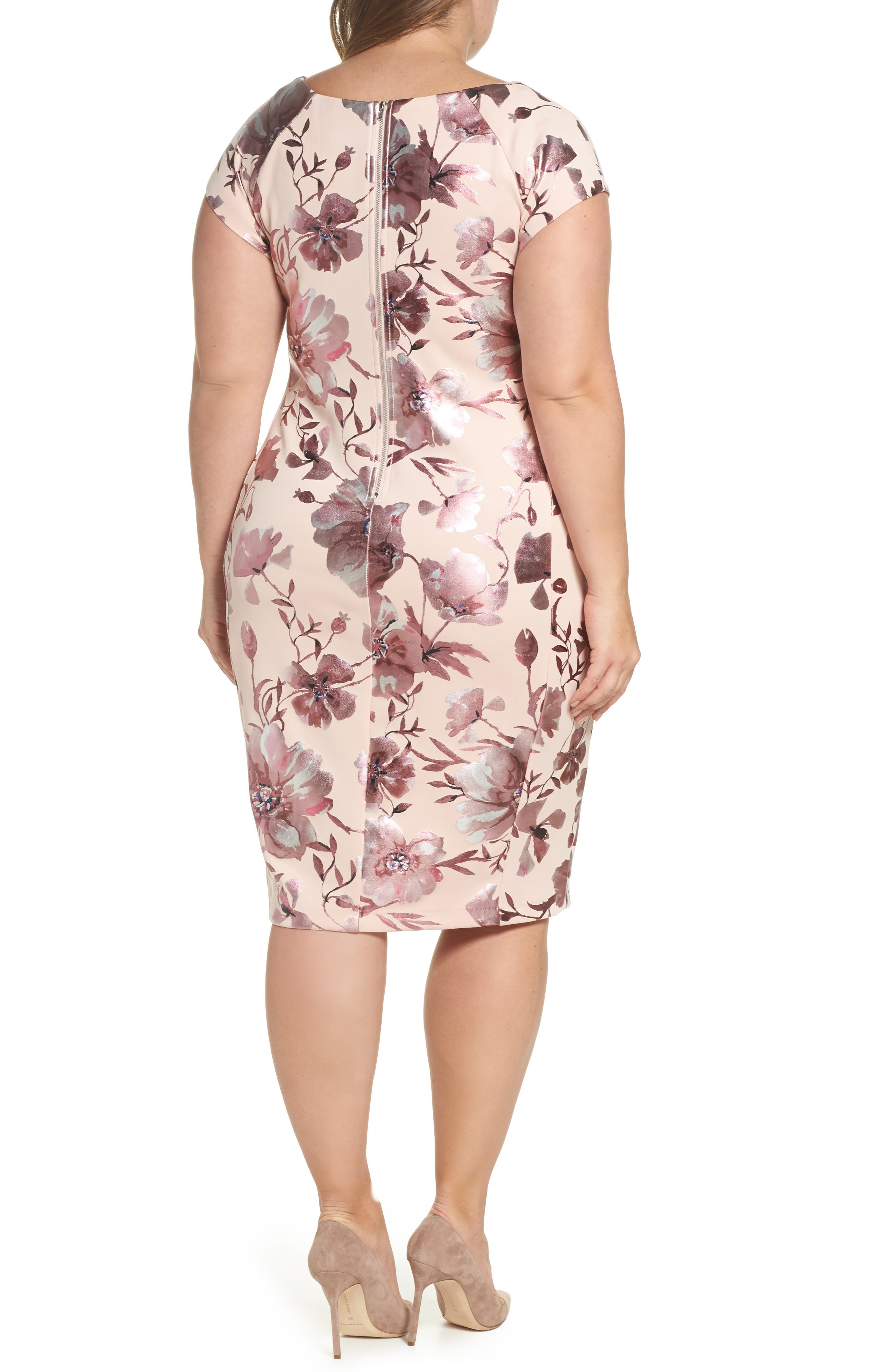 Foil Print Sheath Dress,                             Alternate thumbnail 2, color,                             Pink