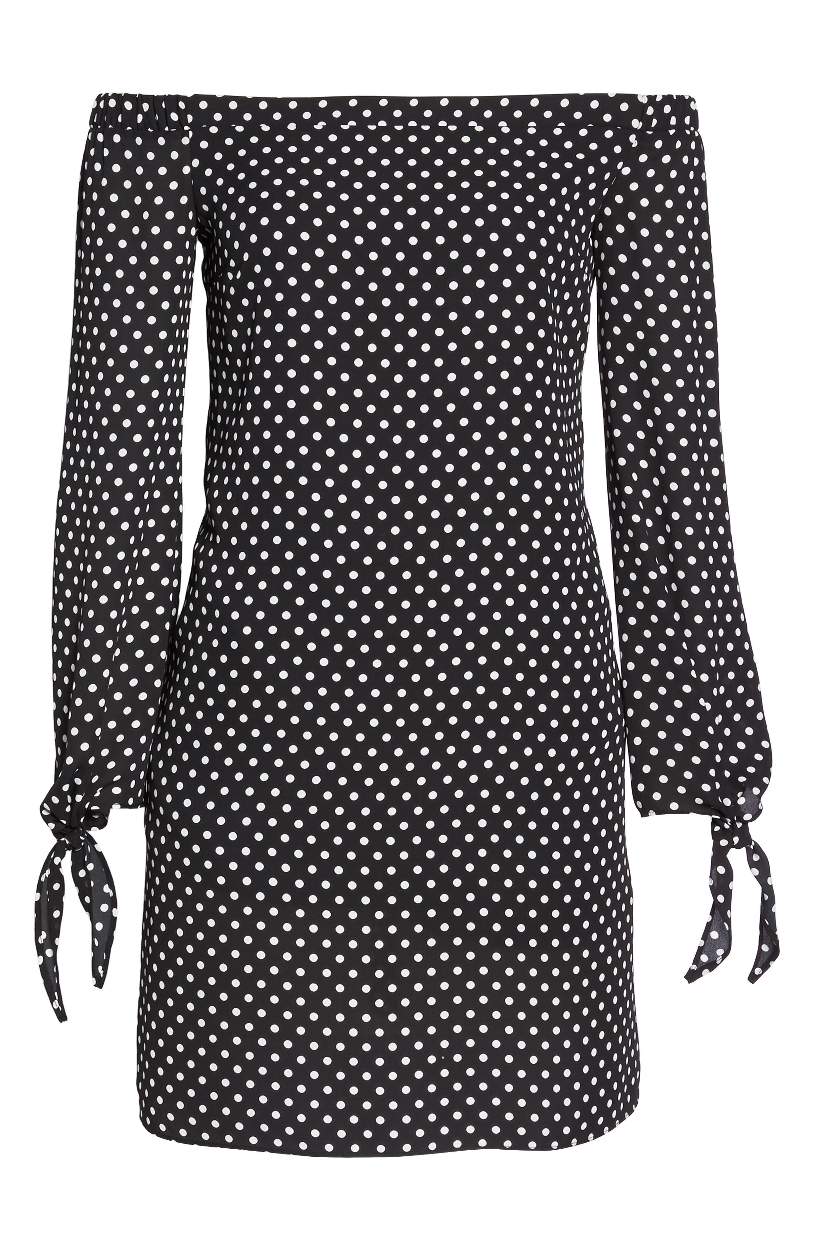 Polka Dot Off the Shoulder Minidress,                             Alternate thumbnail 6, color,                             Black/ White