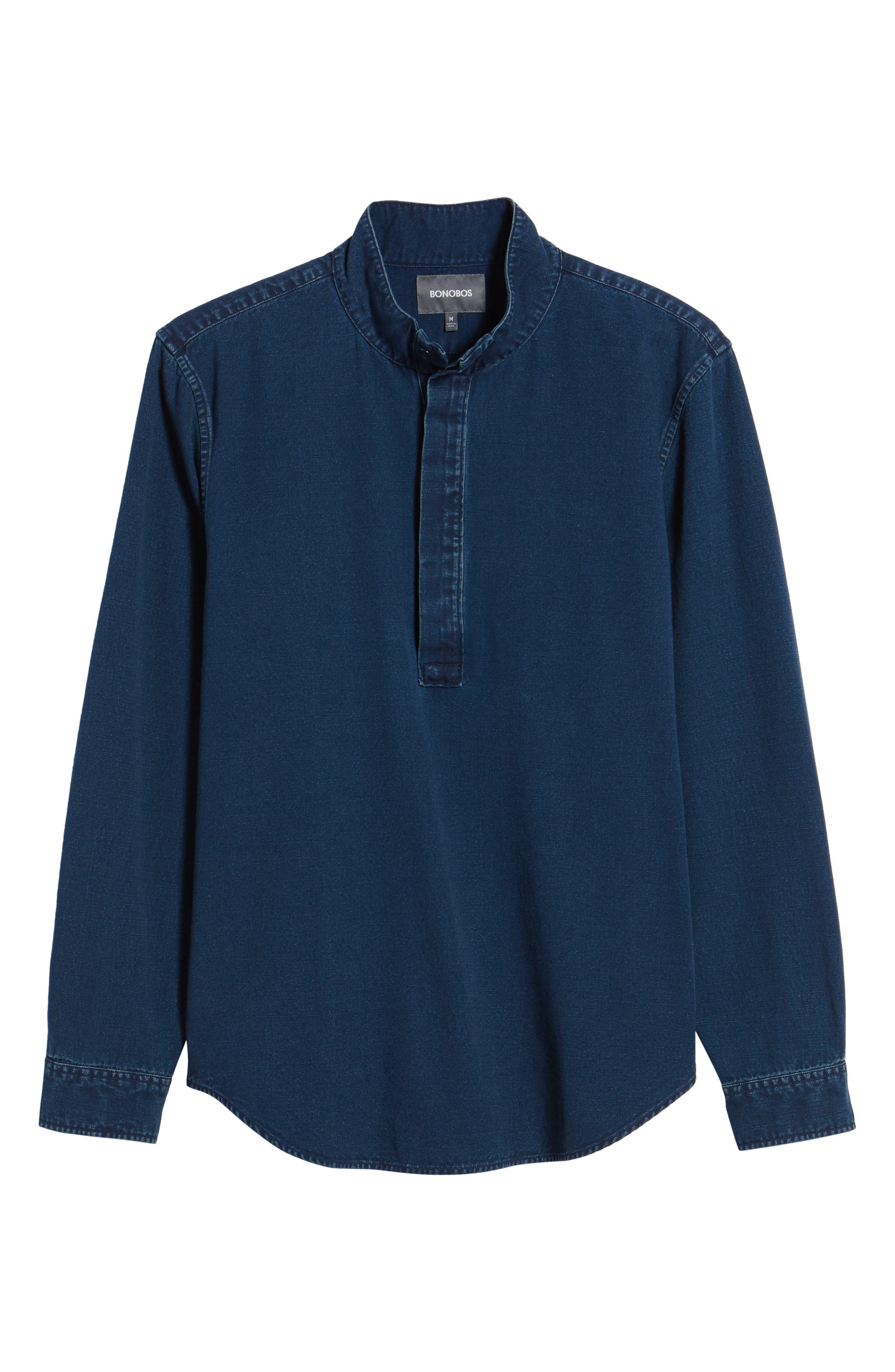 Band Collar Piqué Shirt,                             Alternate thumbnail 6, color,                             Indigo