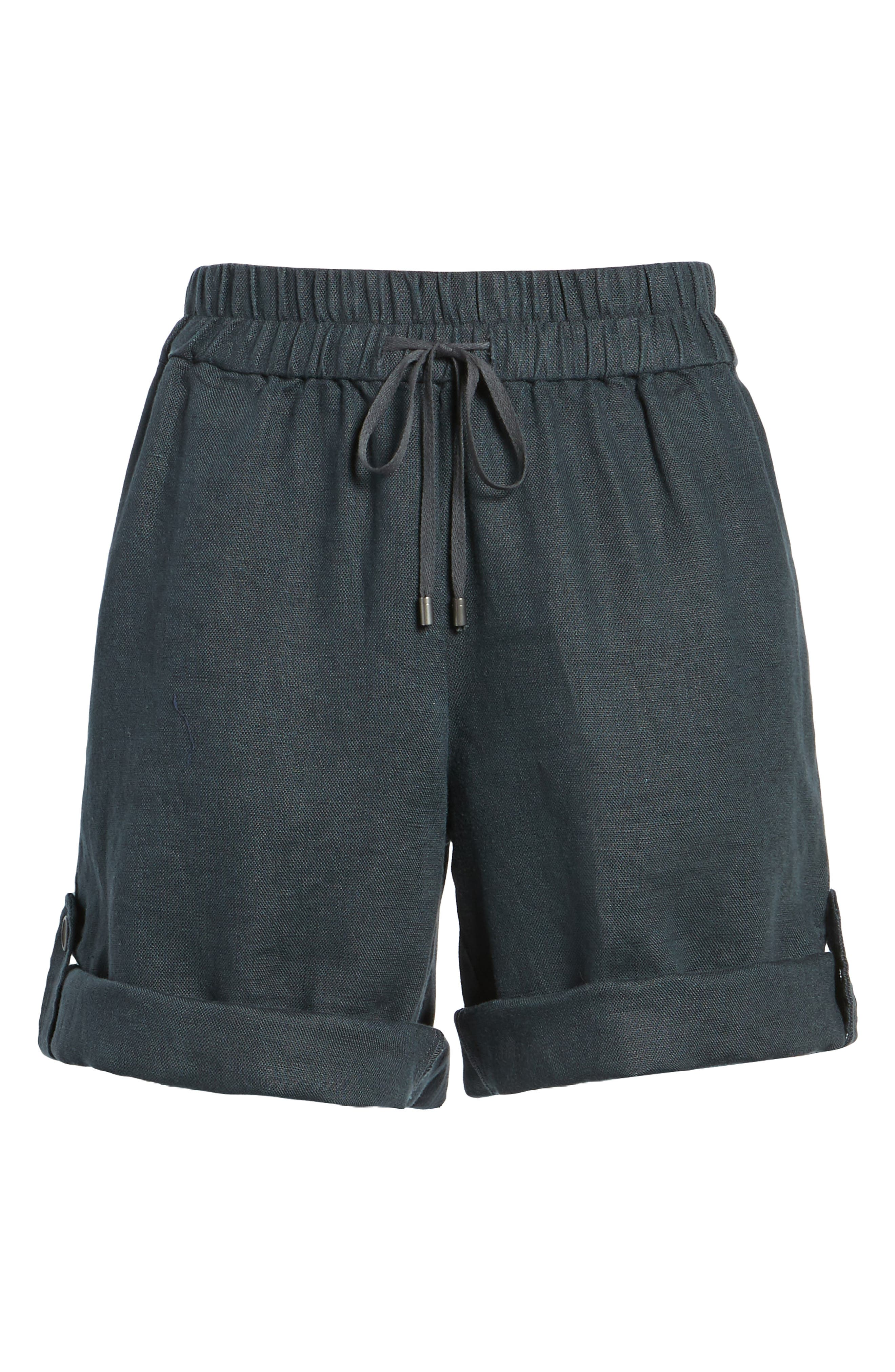 Rolled Organic Linen Shorts,                             Alternate thumbnail 6, color,                             Graphite