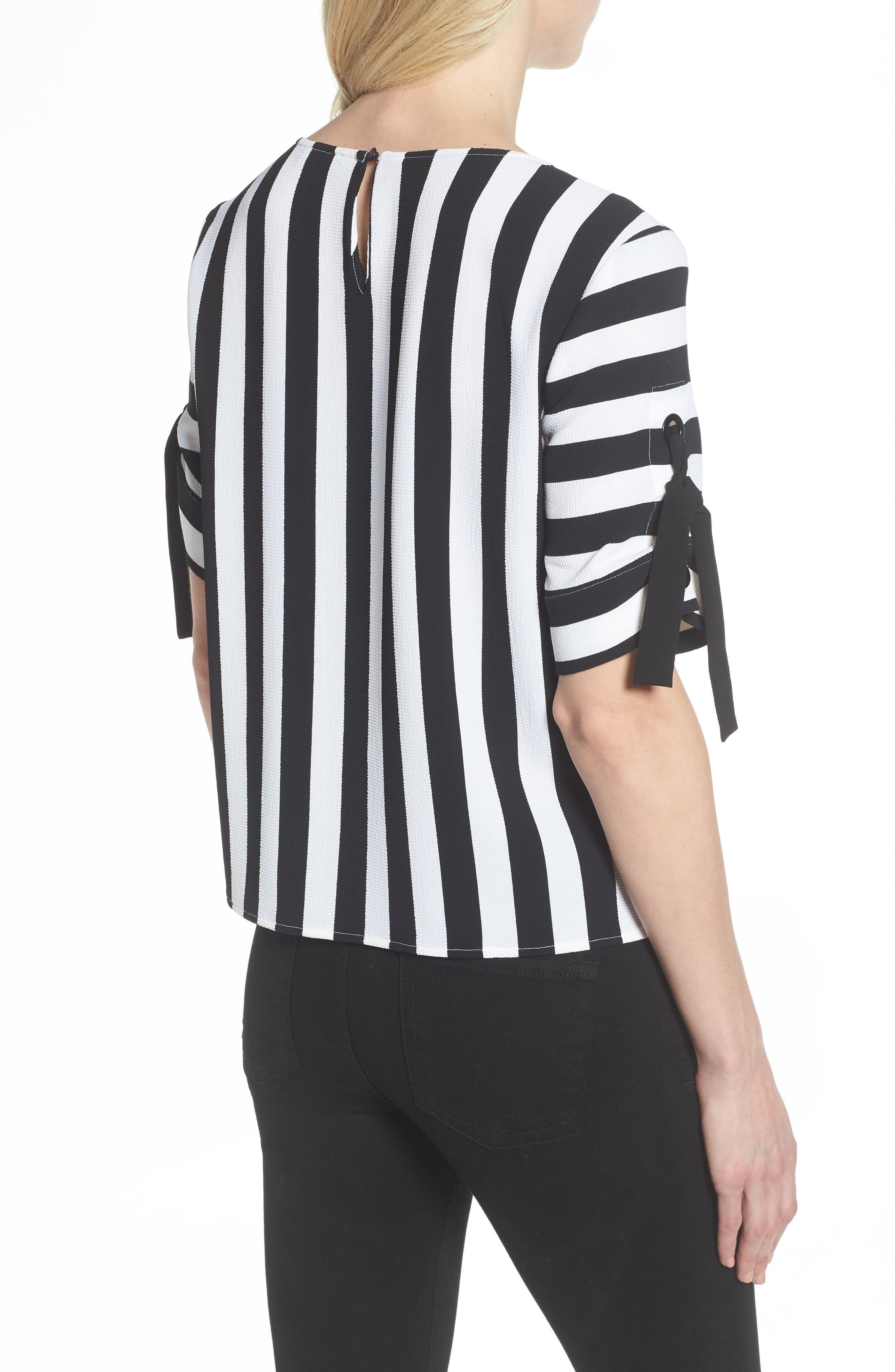 Spectator Stripe Tie Cuff Blouse,                             Alternate thumbnail 3, color,                             Rich Black