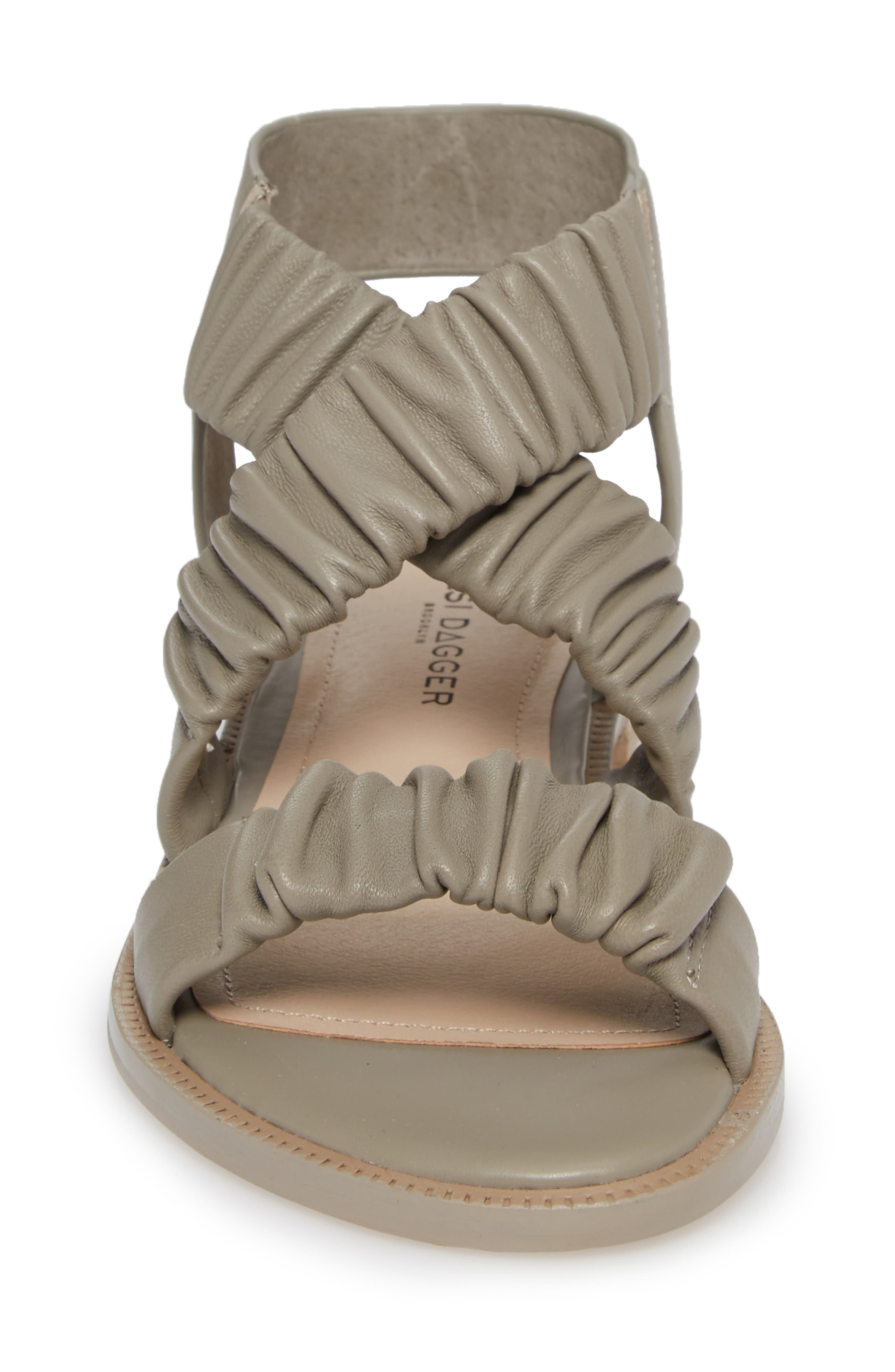 Ryder Pleated Flat Sandal,                             Alternate thumbnail 4, color,                             Clove Leather