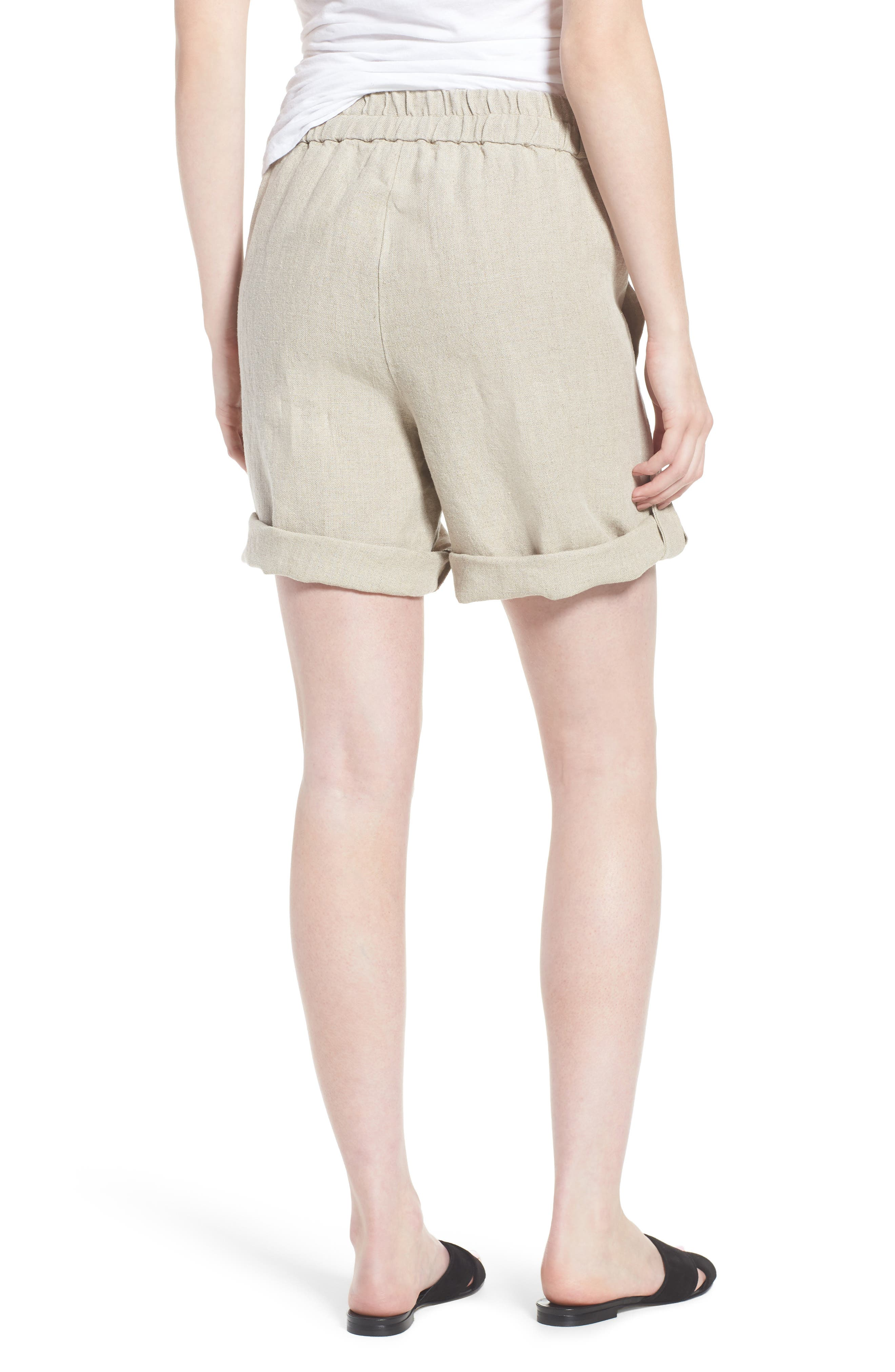 Rolled Organic Linen Shorts,                             Alternate thumbnail 2, color,                             Undyed Natural