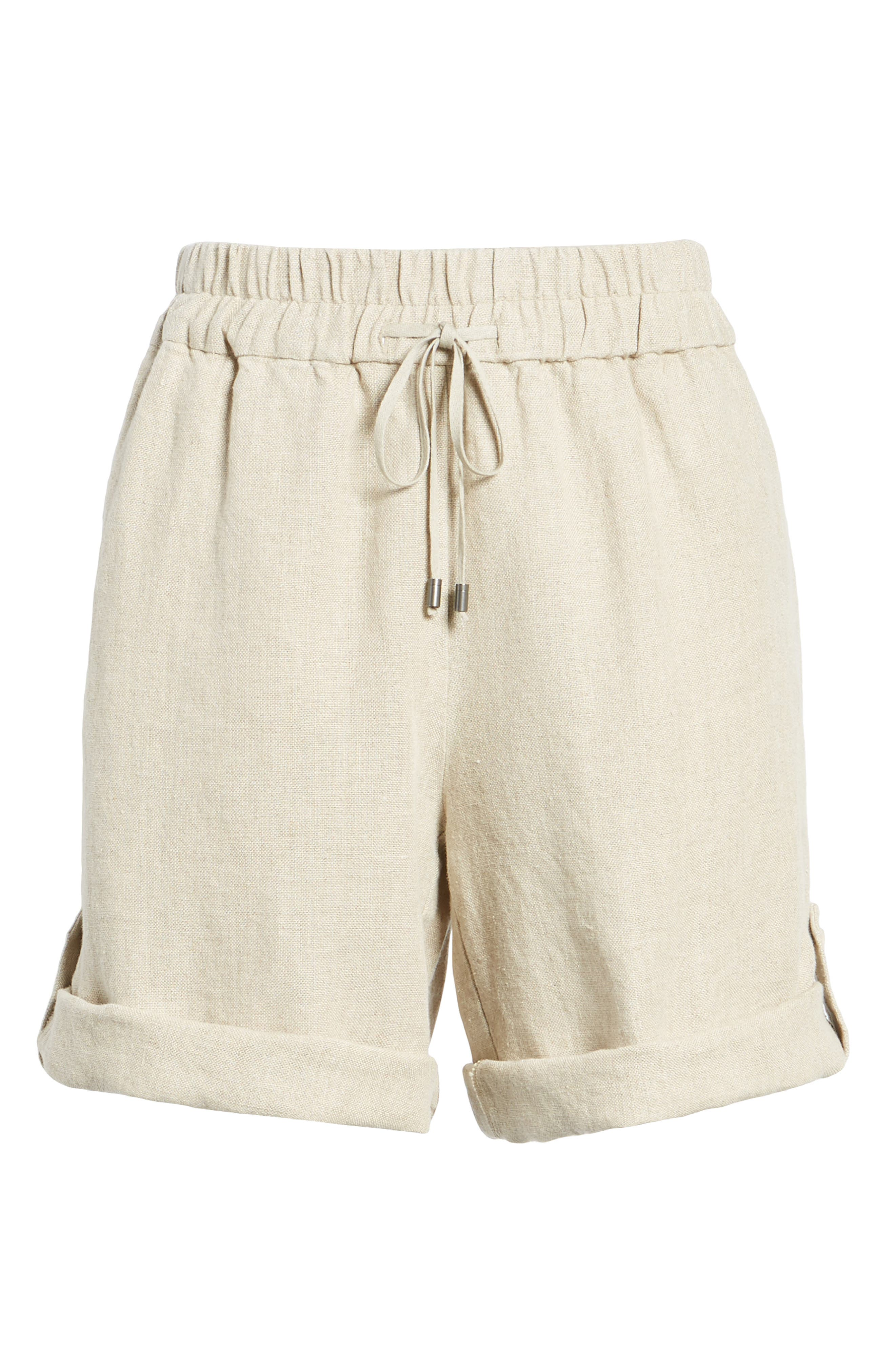 Rolled Organic Linen Shorts,                             Alternate thumbnail 6, color,                             Undyed Natural